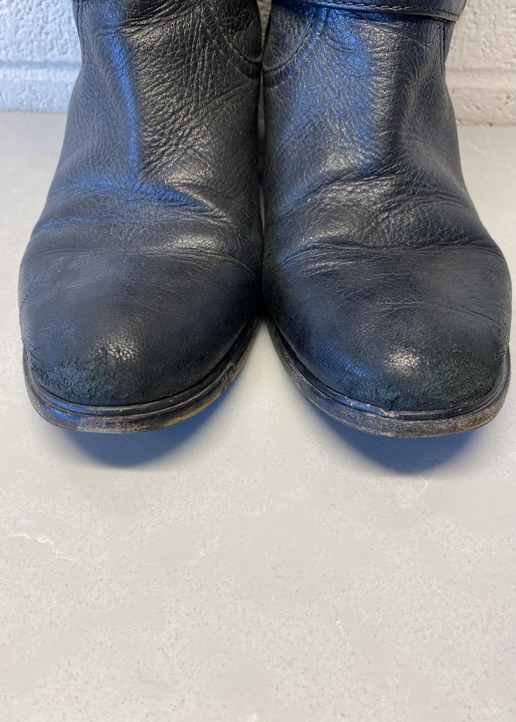 Prada Cervo Leather Buckle Boots 38