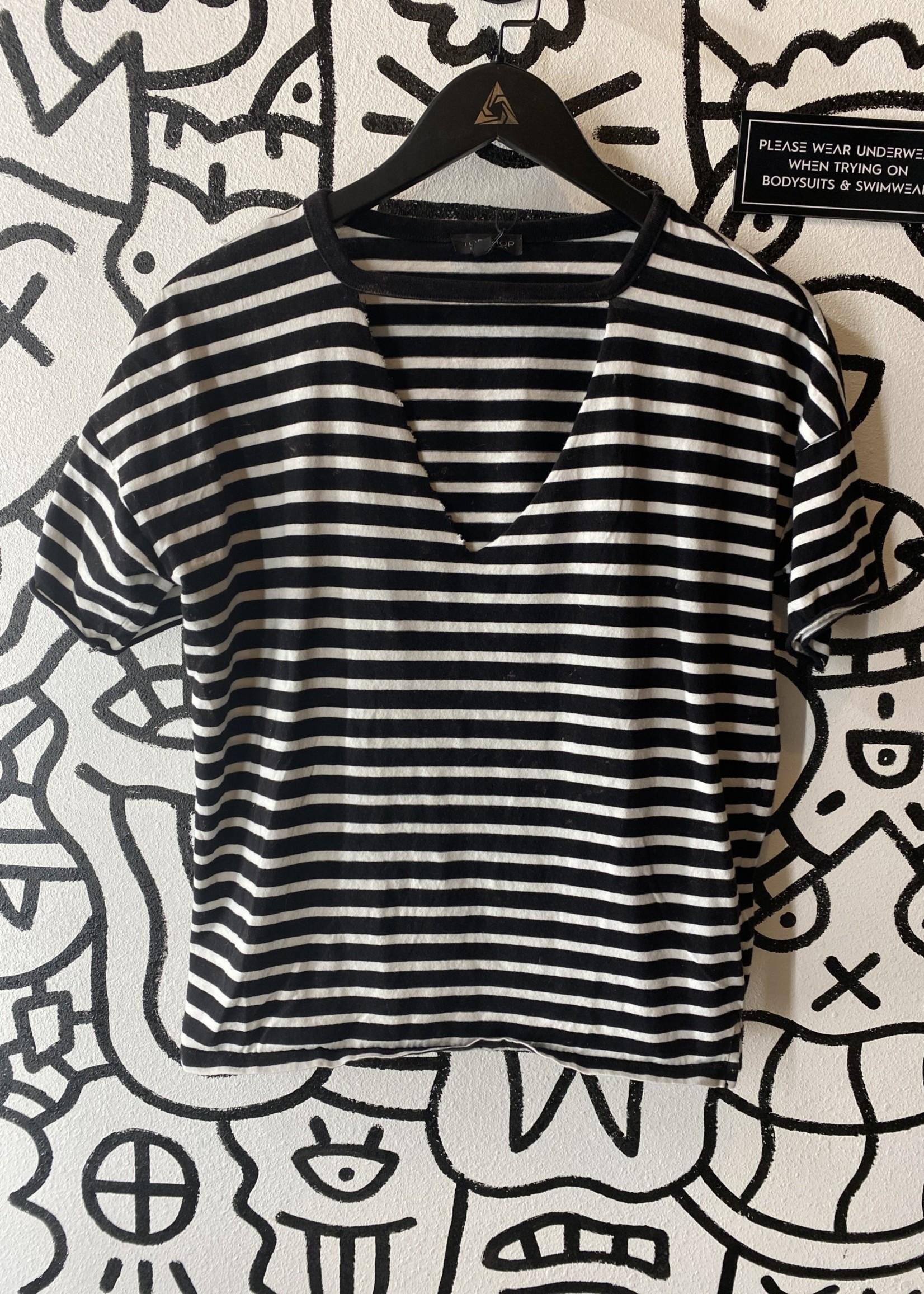 Topshop Black White Stripe V Neck 4