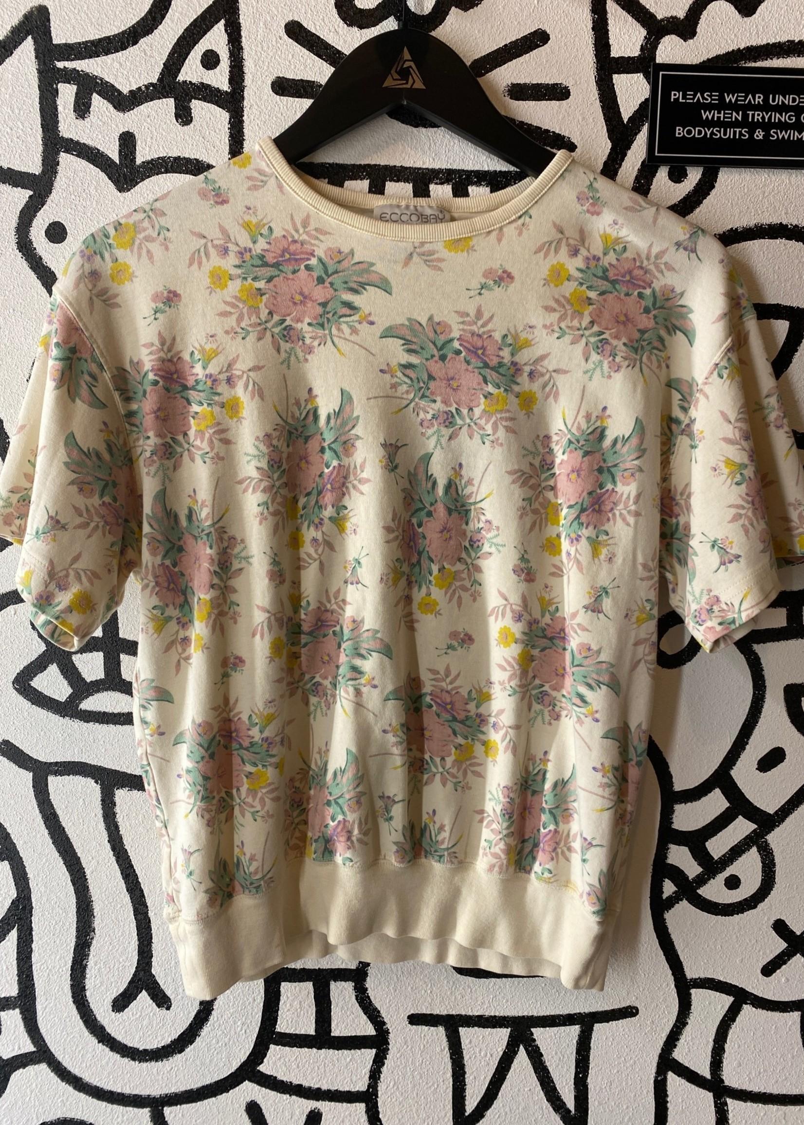 Eccobay Vintage White Flower Print Top M
