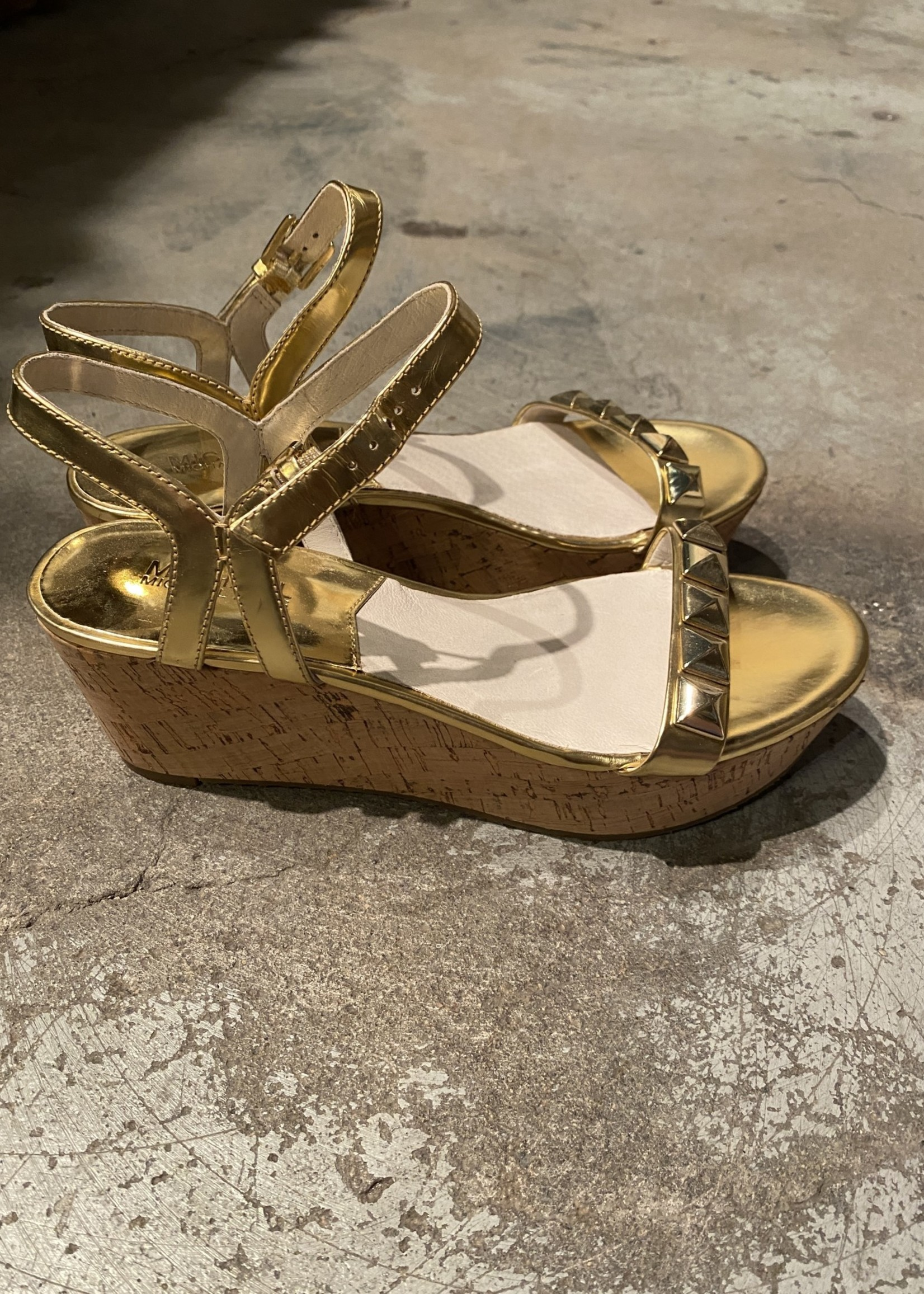 NEW Michael Kors Gold Cork Platform Sandals 8