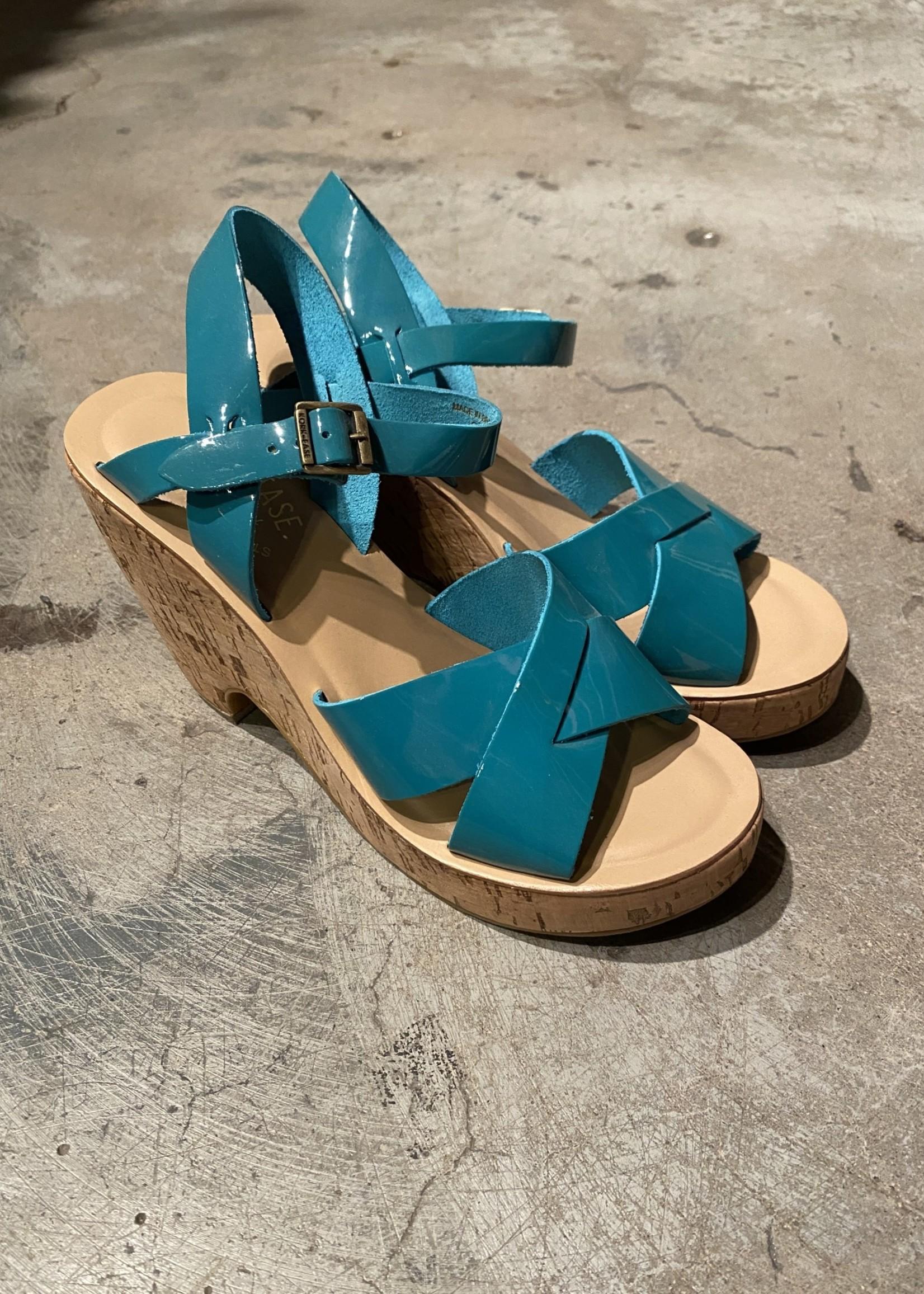 Kork-Ease Teal Cork Heeled Sandals 8