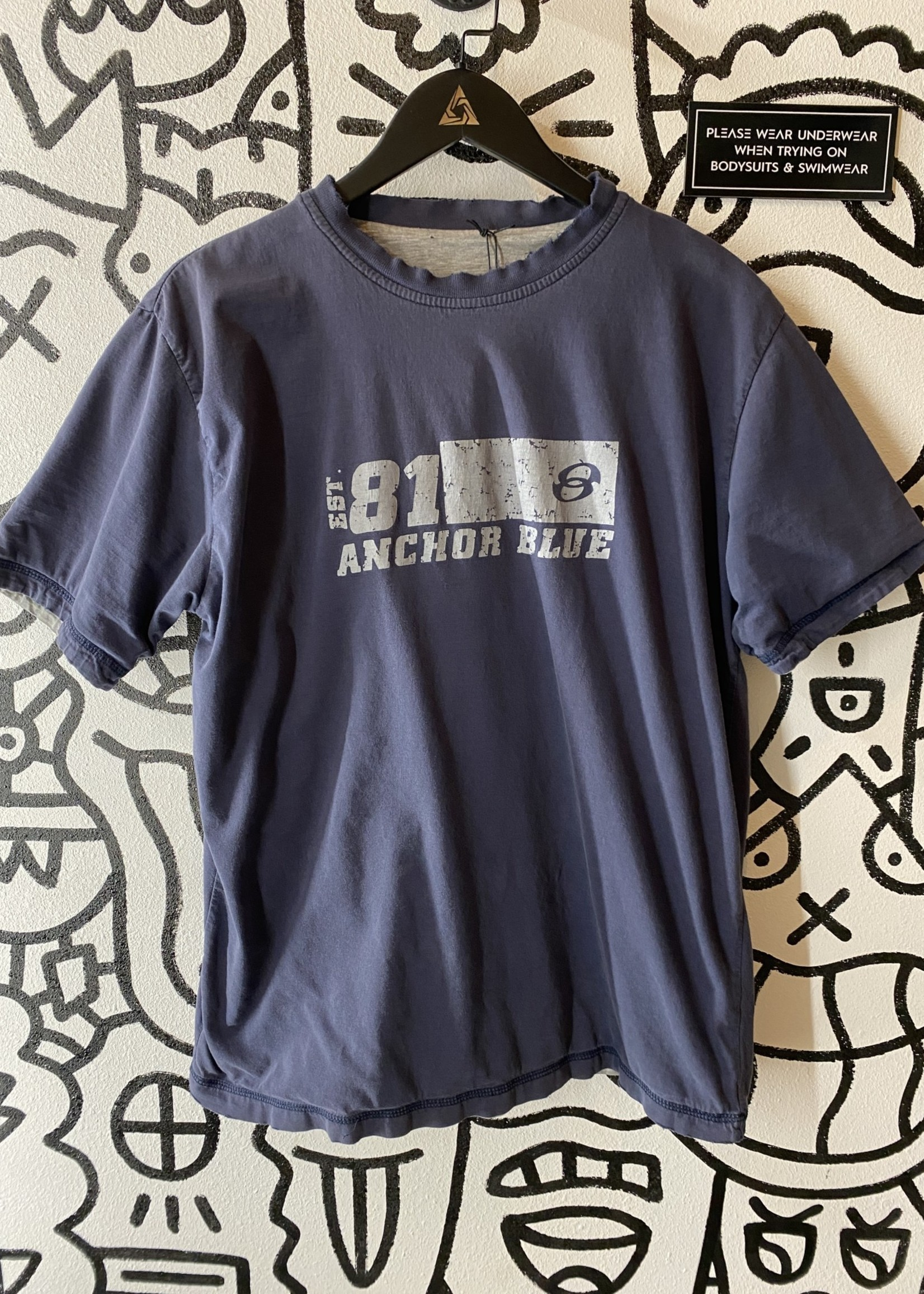 Anchor Blue Vintage Double Layered Tee M