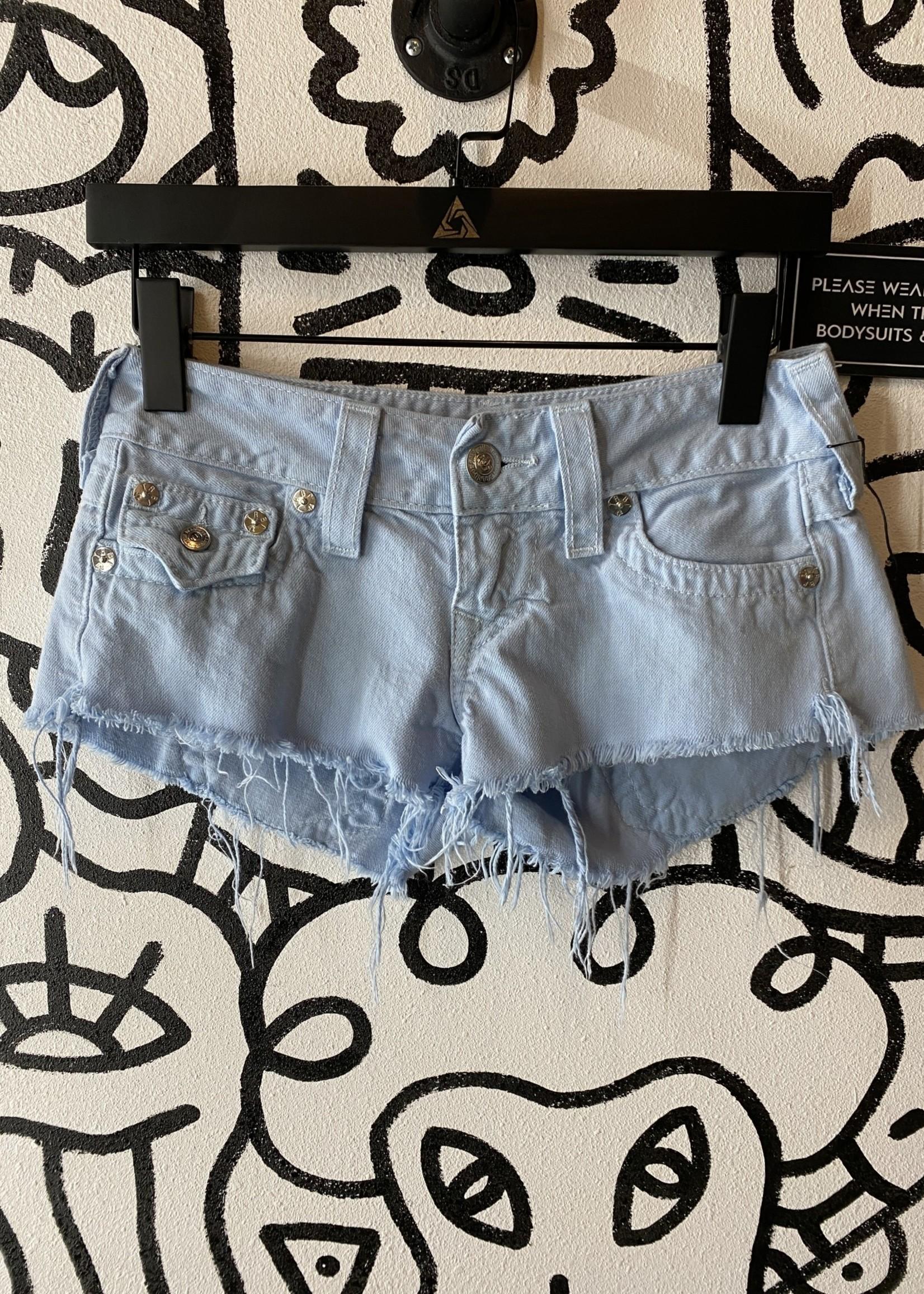 True Religion Light Blue Short Shorts 26