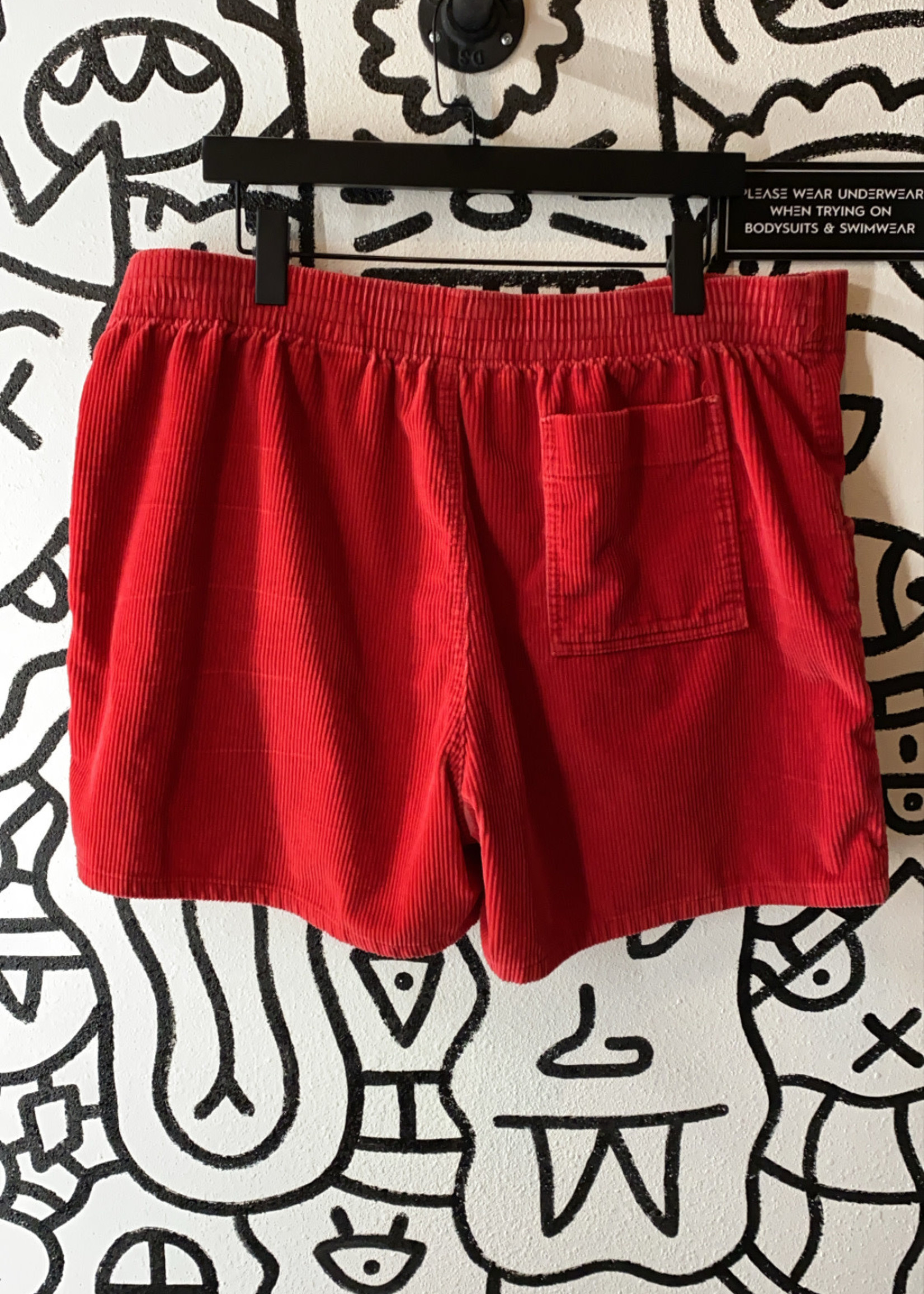 Red Corduroy Shorts 42