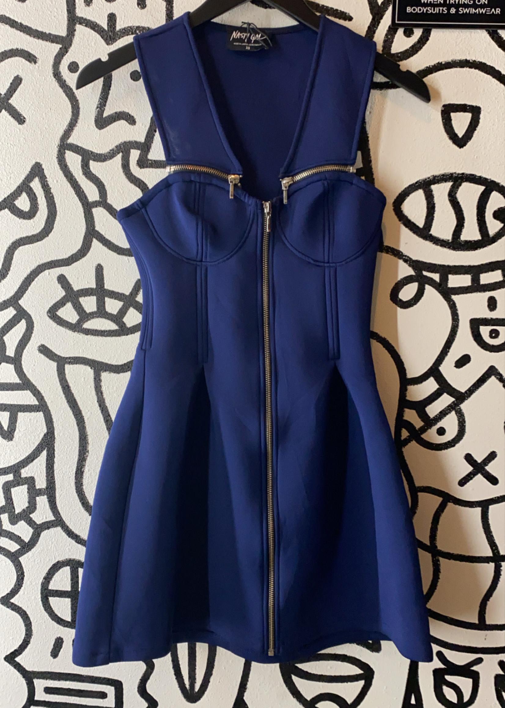 Nasty Gal Blue Zipper Dress