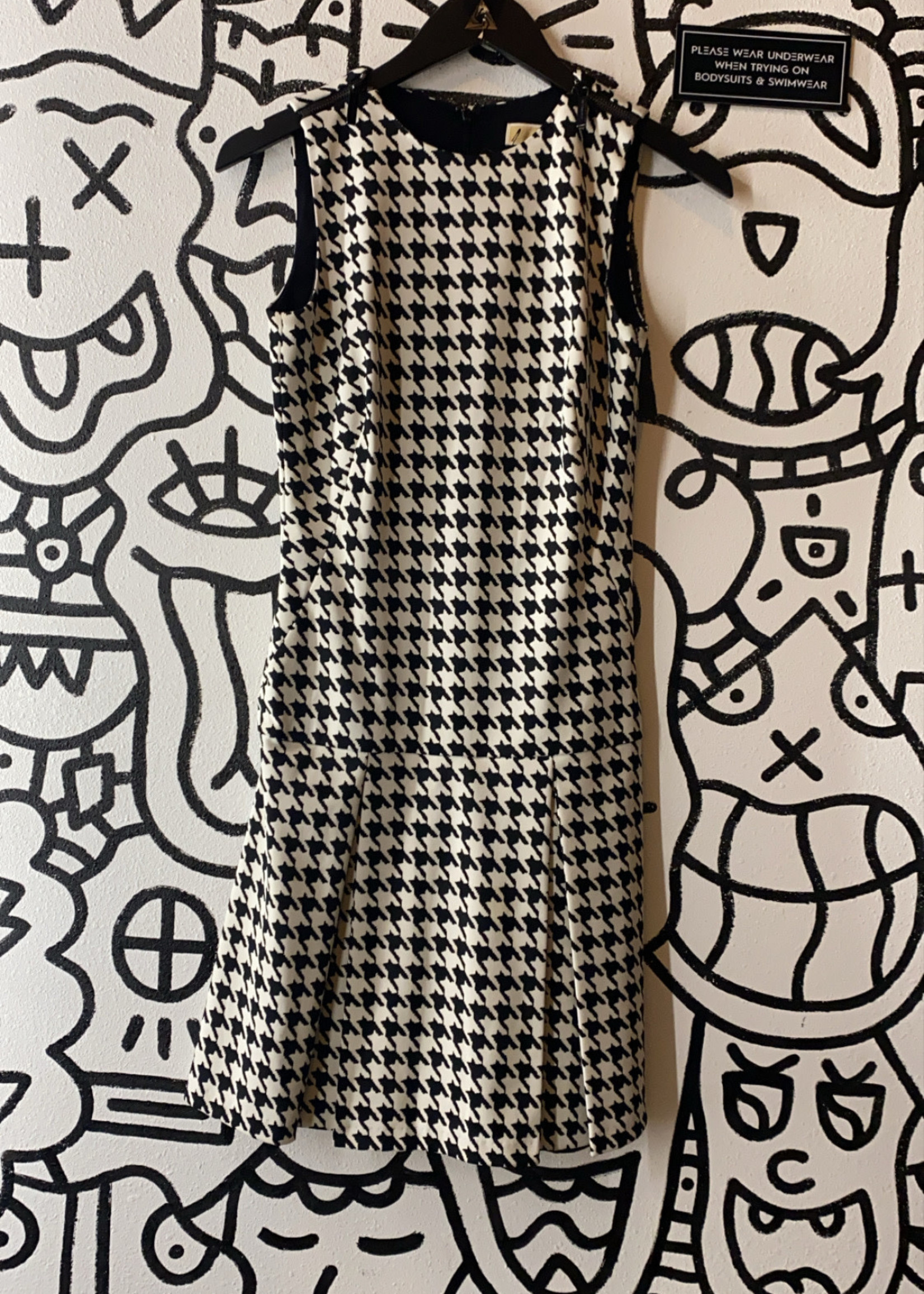 Michael Kors Houndstooth Drop Hem Dress