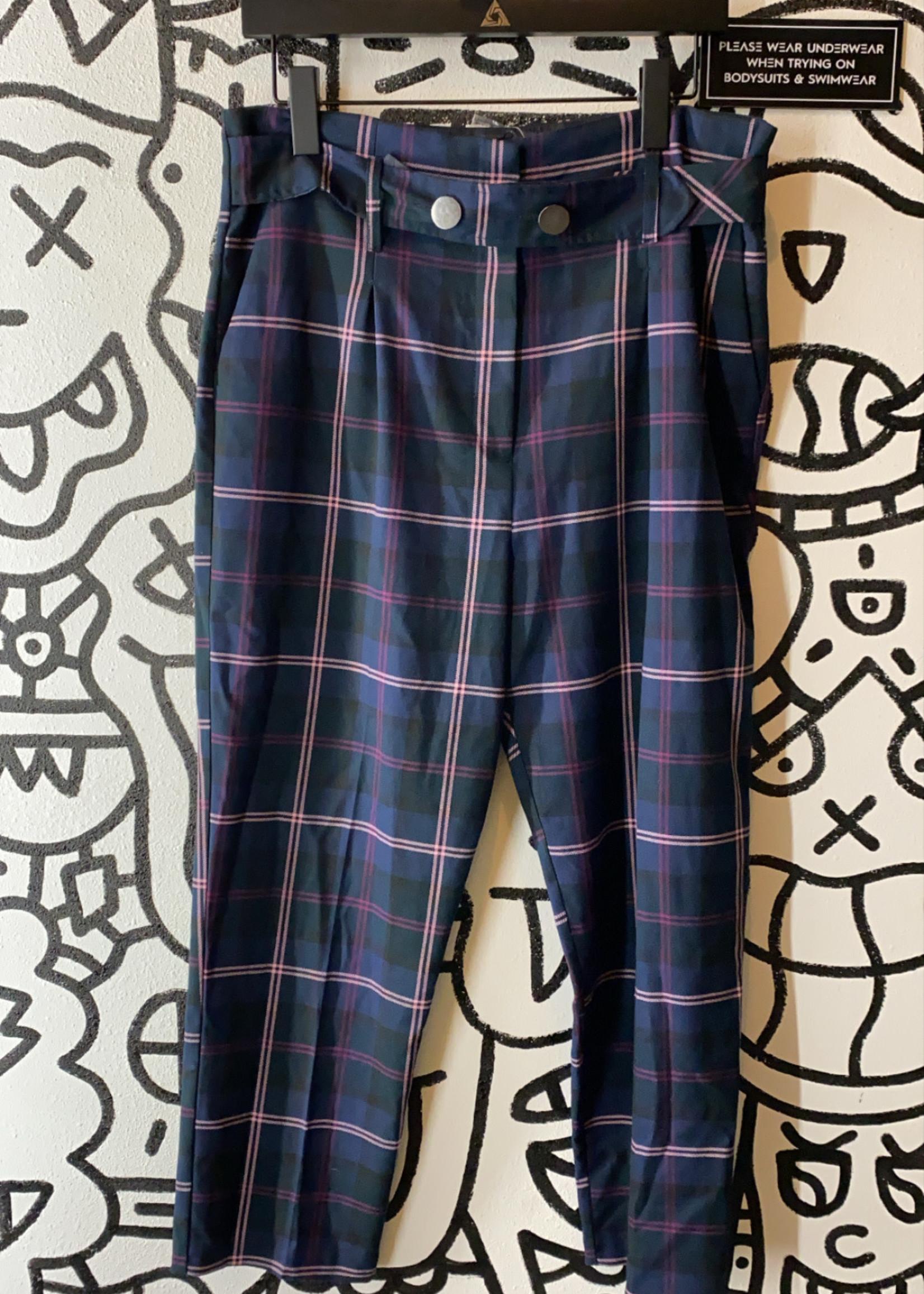 NWT Topshop Plaid Blue Pants