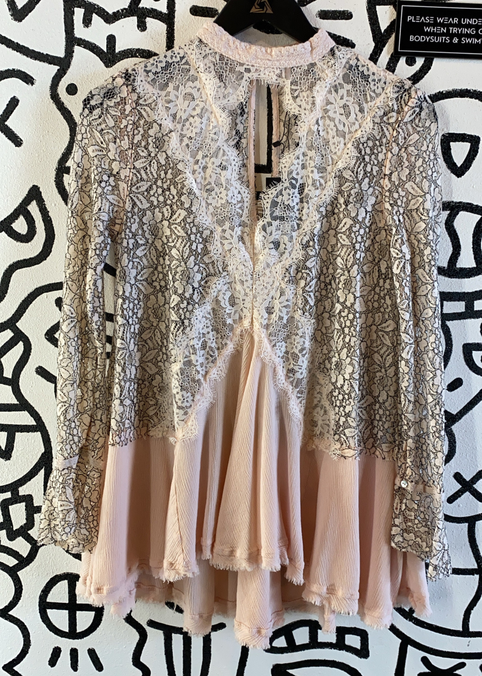 Free People Lace Pink Flowy Long Sleeve S