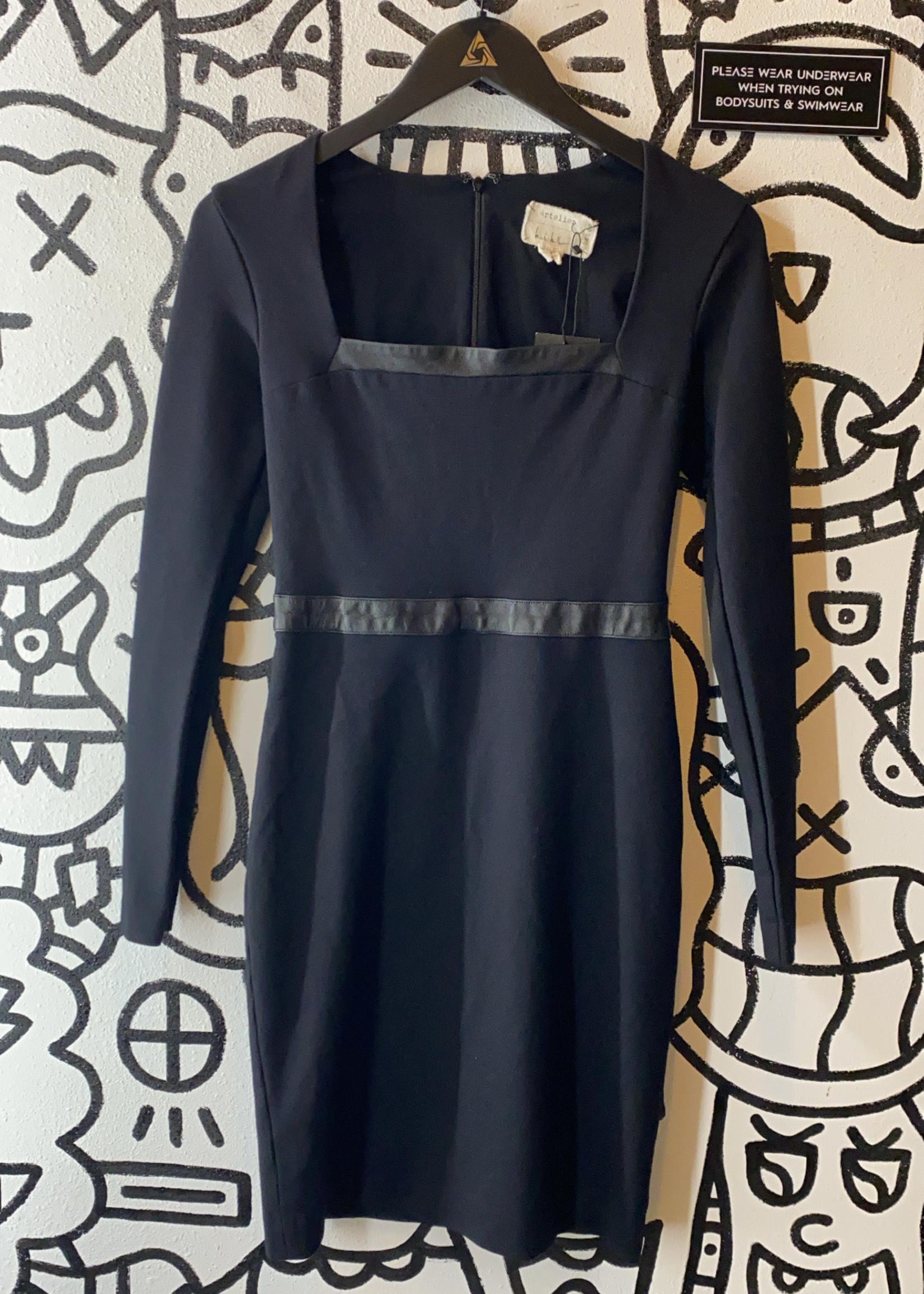 Artelier Nicole Miller Black Long Sleeve Dress 6