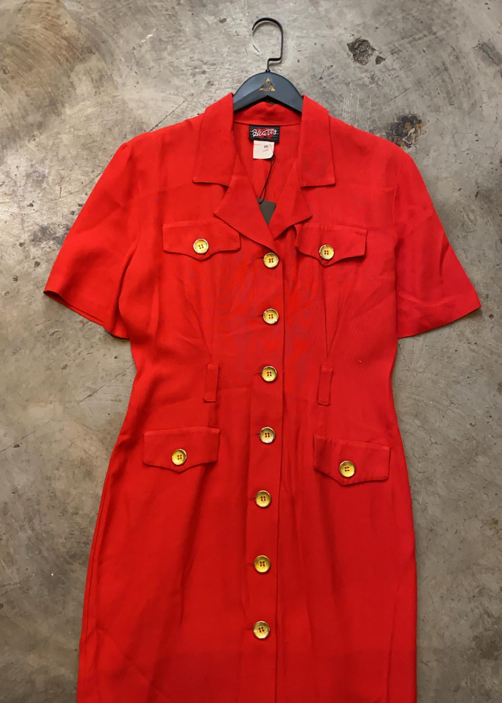 Hearts Vintage Red Gold Button Blazer Dress