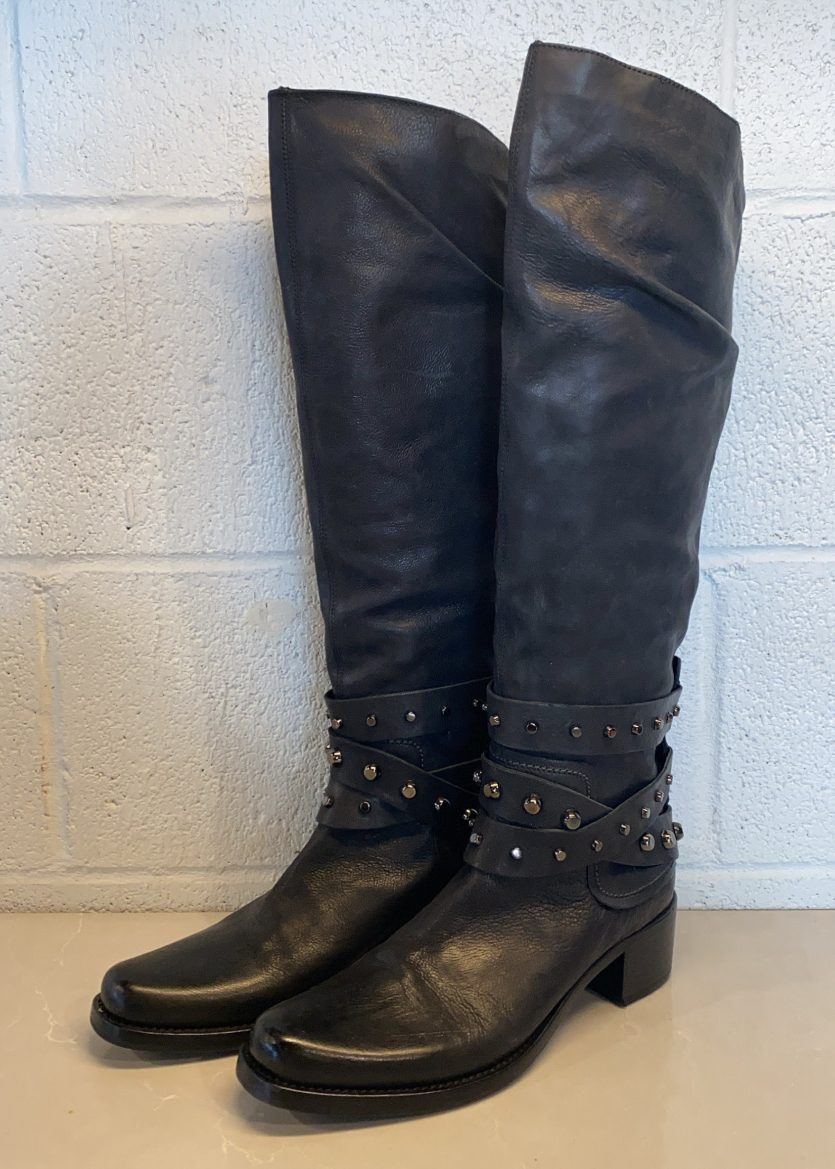 Vic Matie Black Leather Studded Boots 38.5