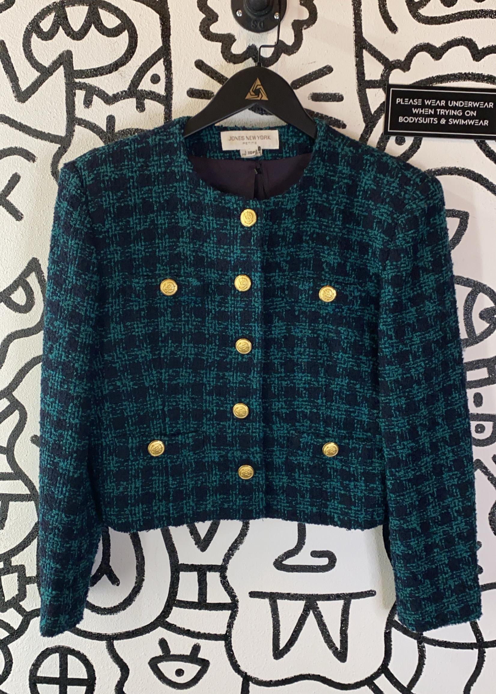 Jones New York Green Plaid Blazer 10