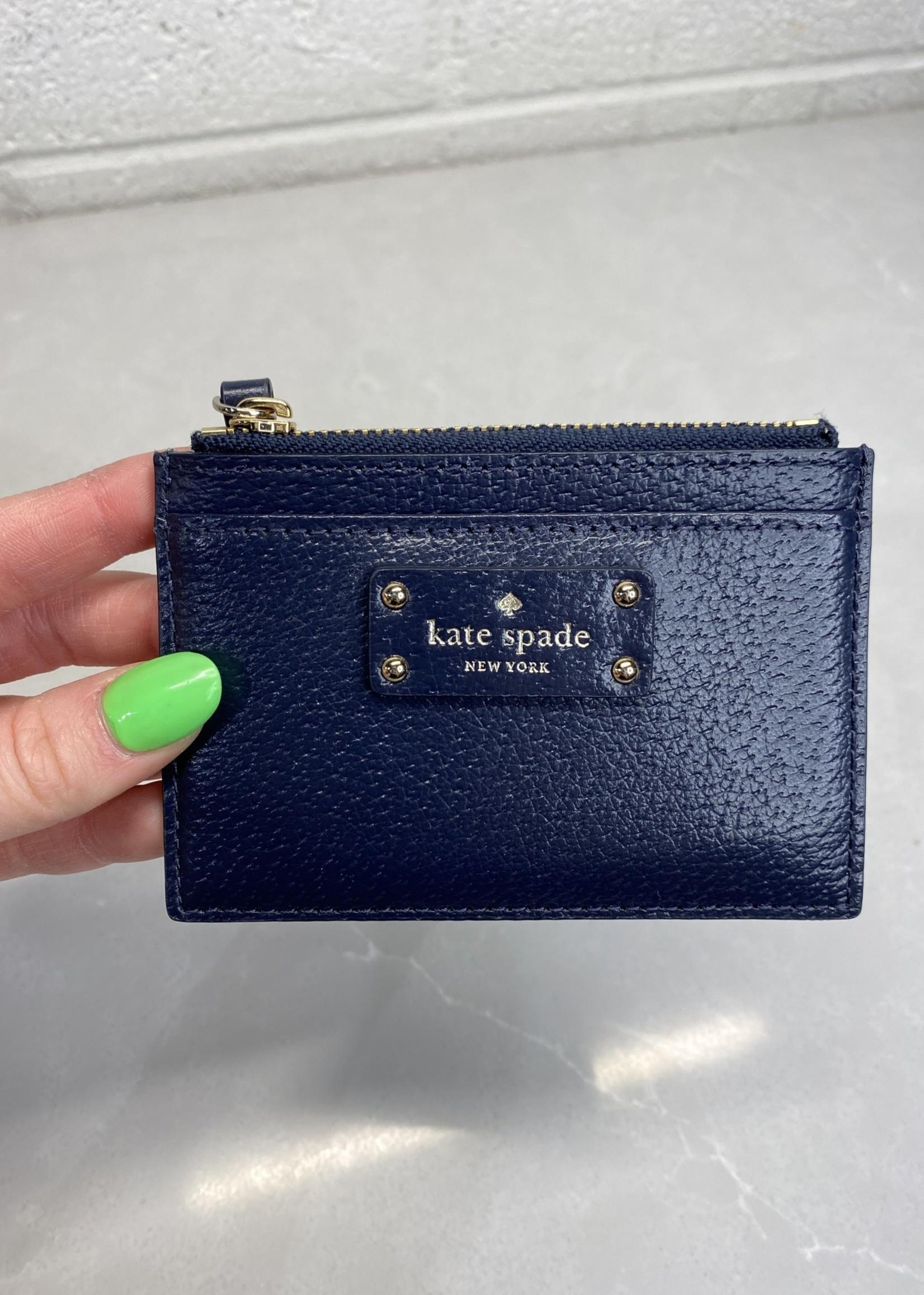 Kate Spade Navy Zip Card Wallet OS