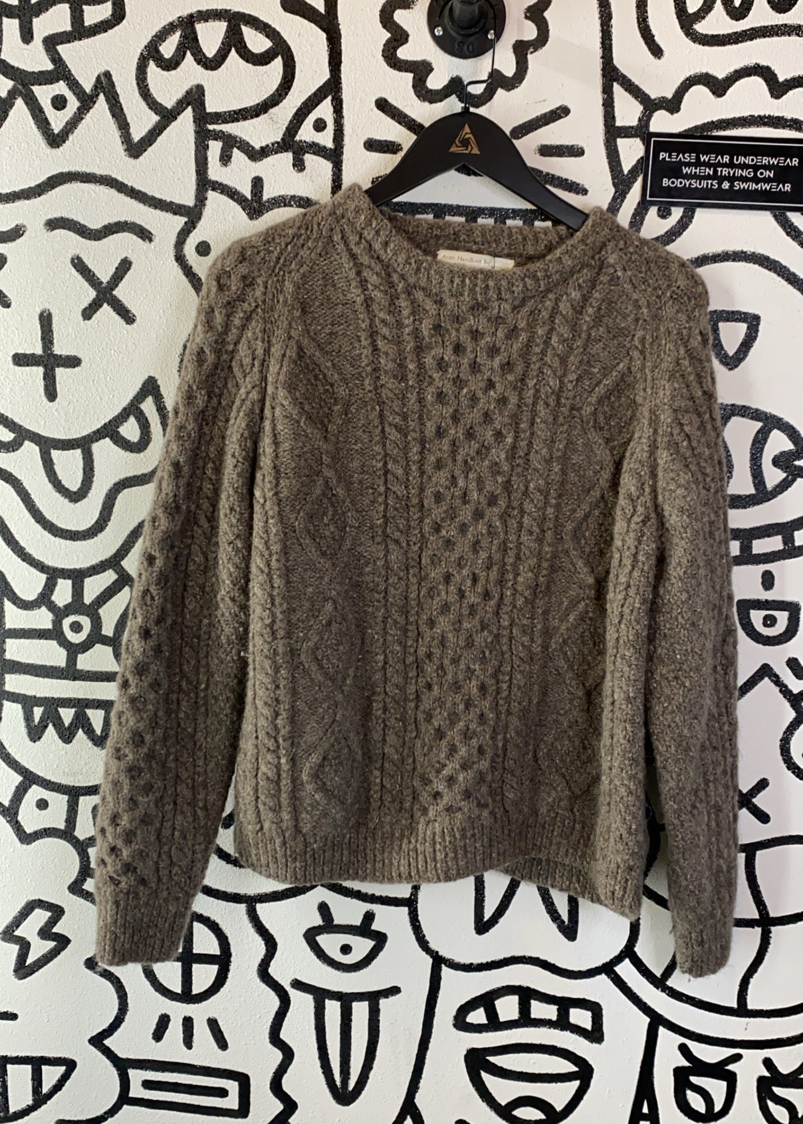 Aran Handknit by Blarney Brown Knit Sweater S