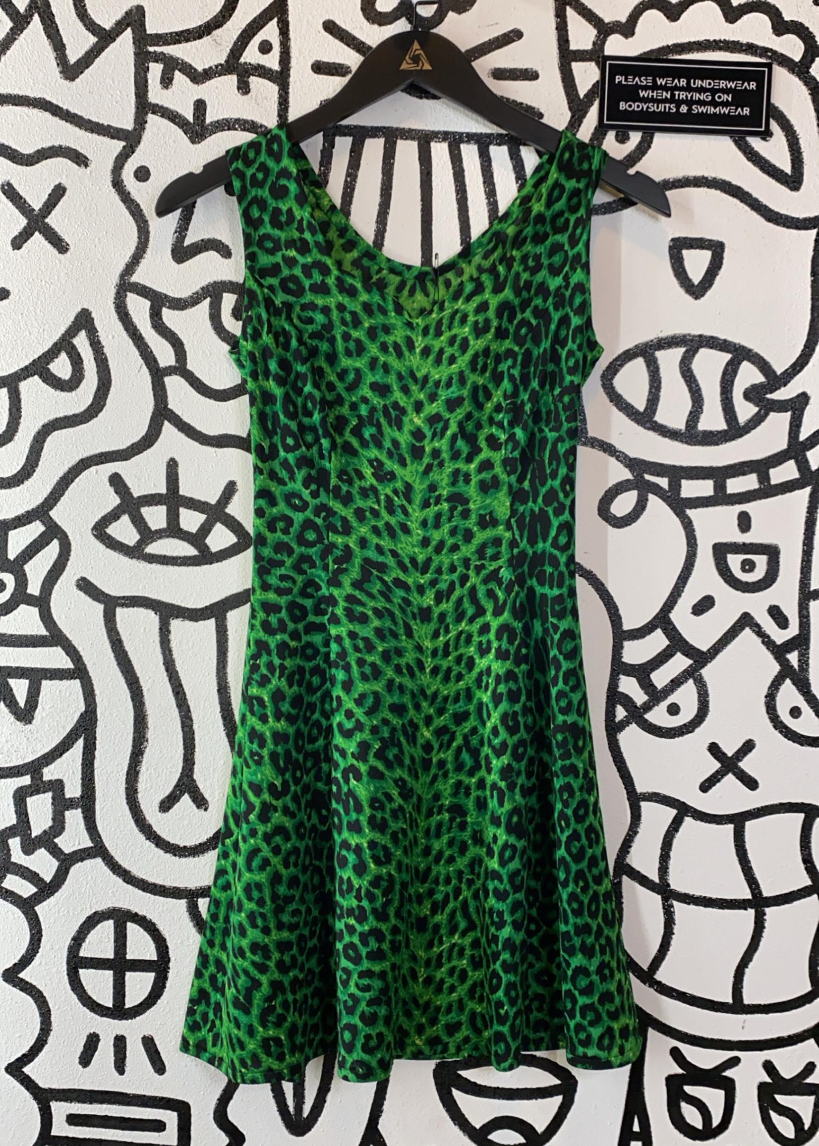 Green Animal Print Dress XS
