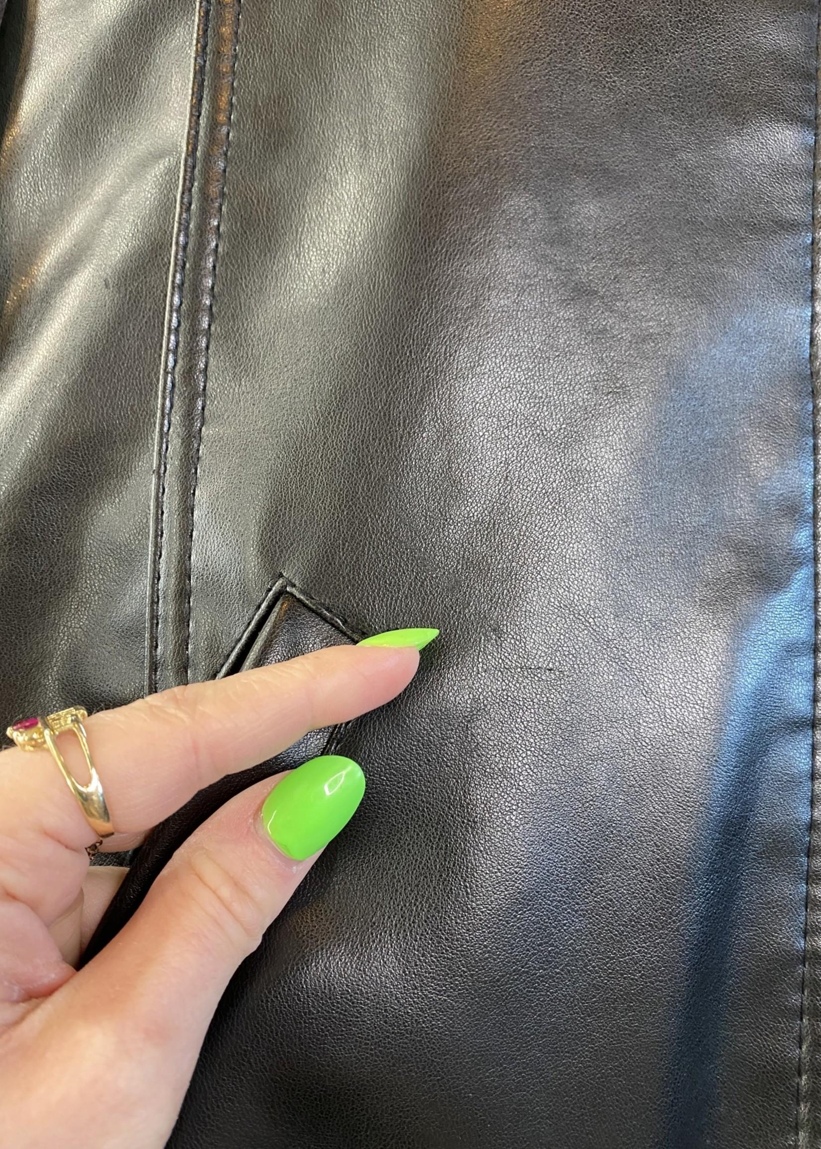 Emporio Armani Black Leather Jacket L
