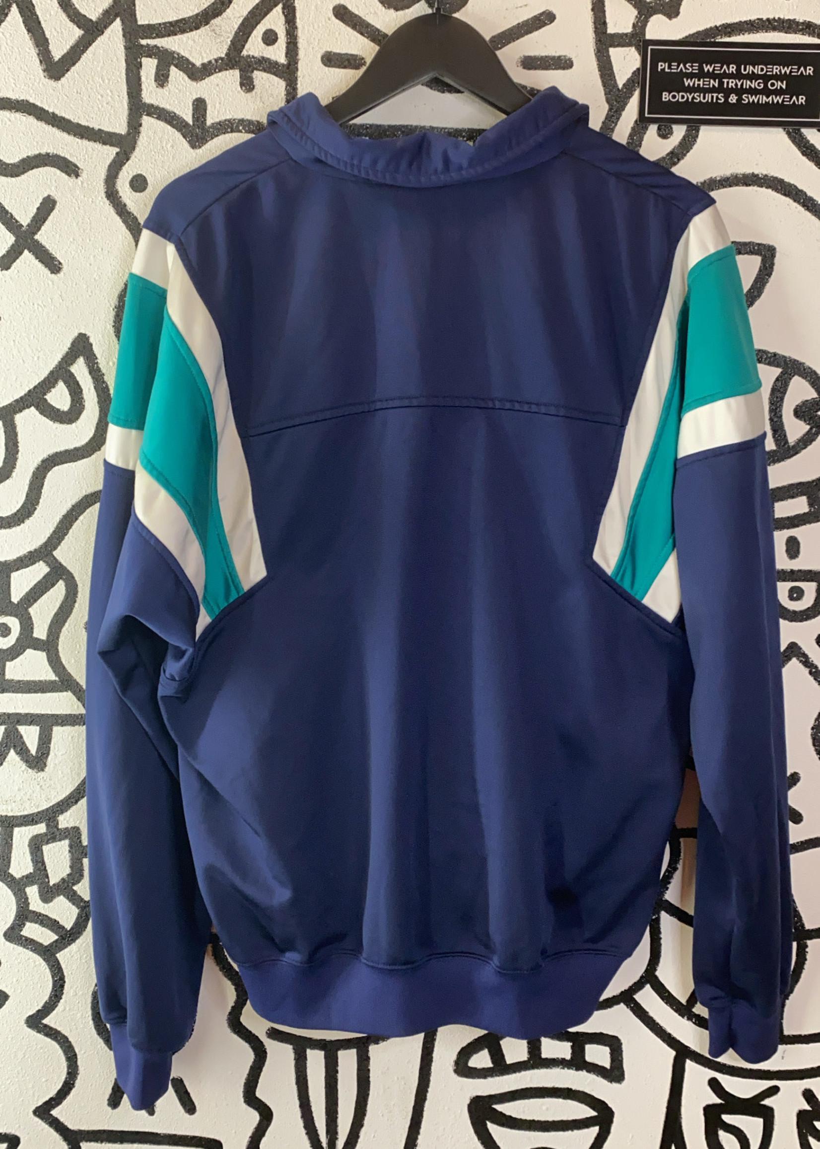 Vintage 80's Nike Blue Track Jacket W/ green shoulder M