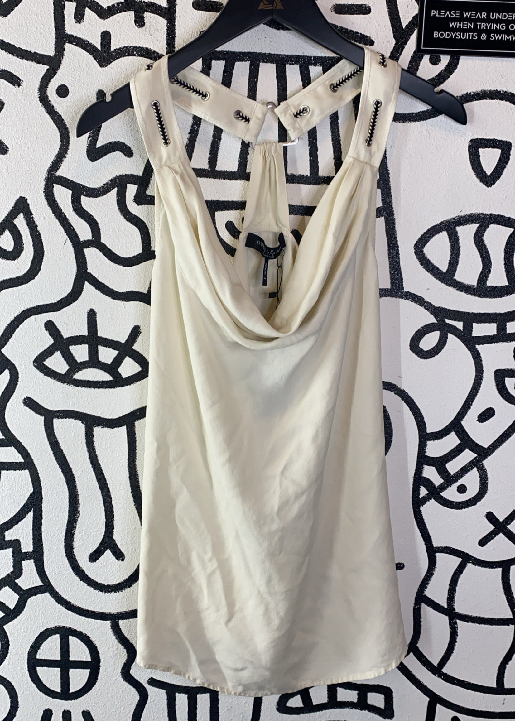 Guess by Marciano White Cowl Neck Tank M
