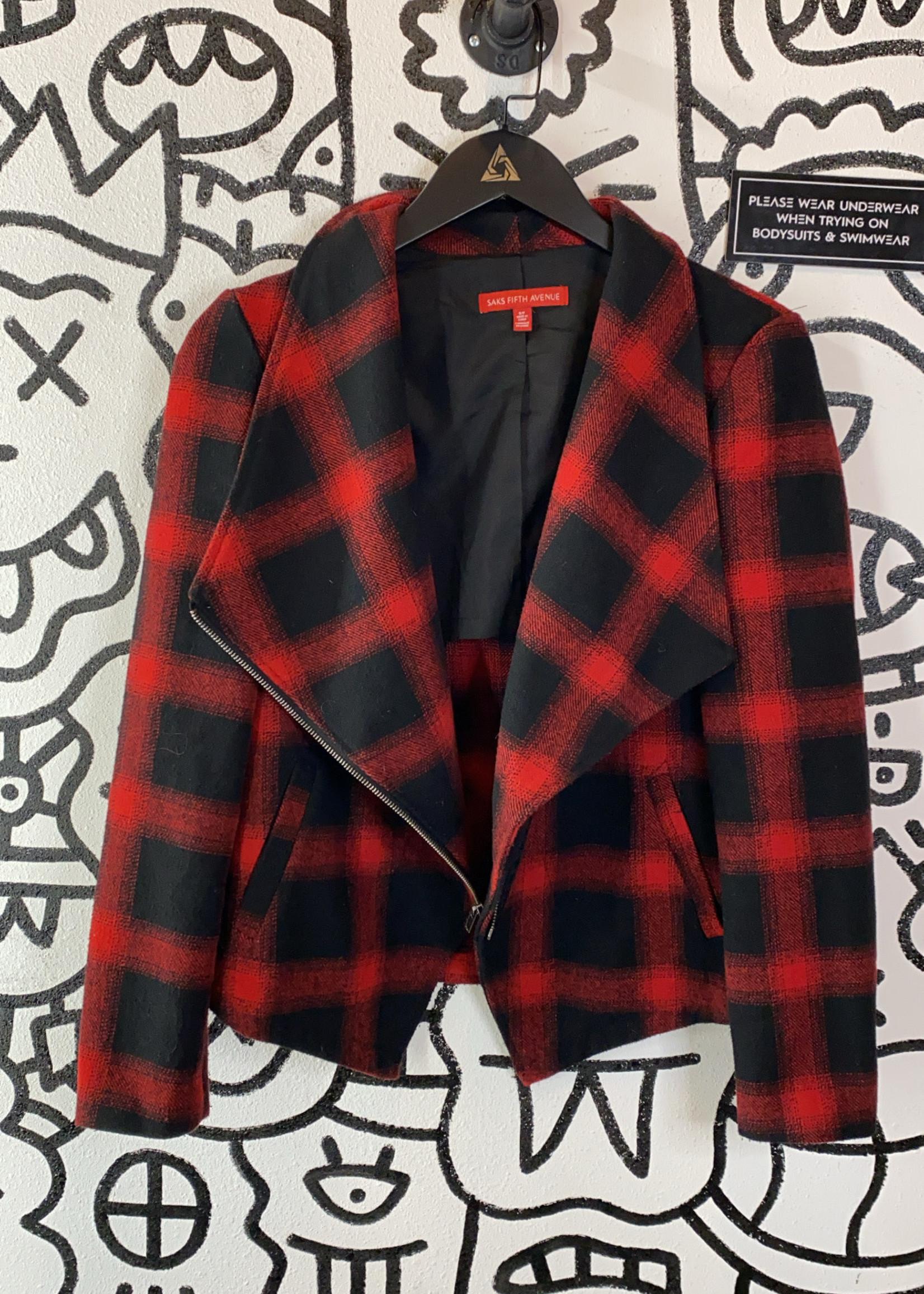 Saks Fifth Avenue Red/Black Plaid Zip Jacket S