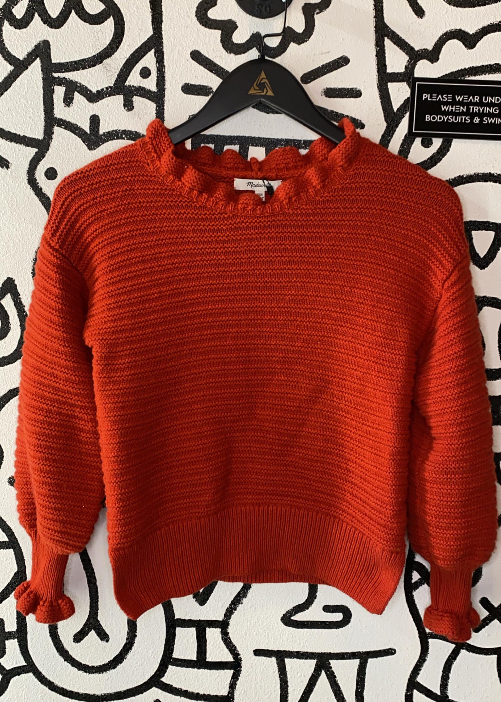 Madewell Red Knit Ruffle Sweater XXS
