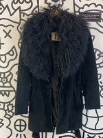 North Beach Black Leather Jacket with Fur 2