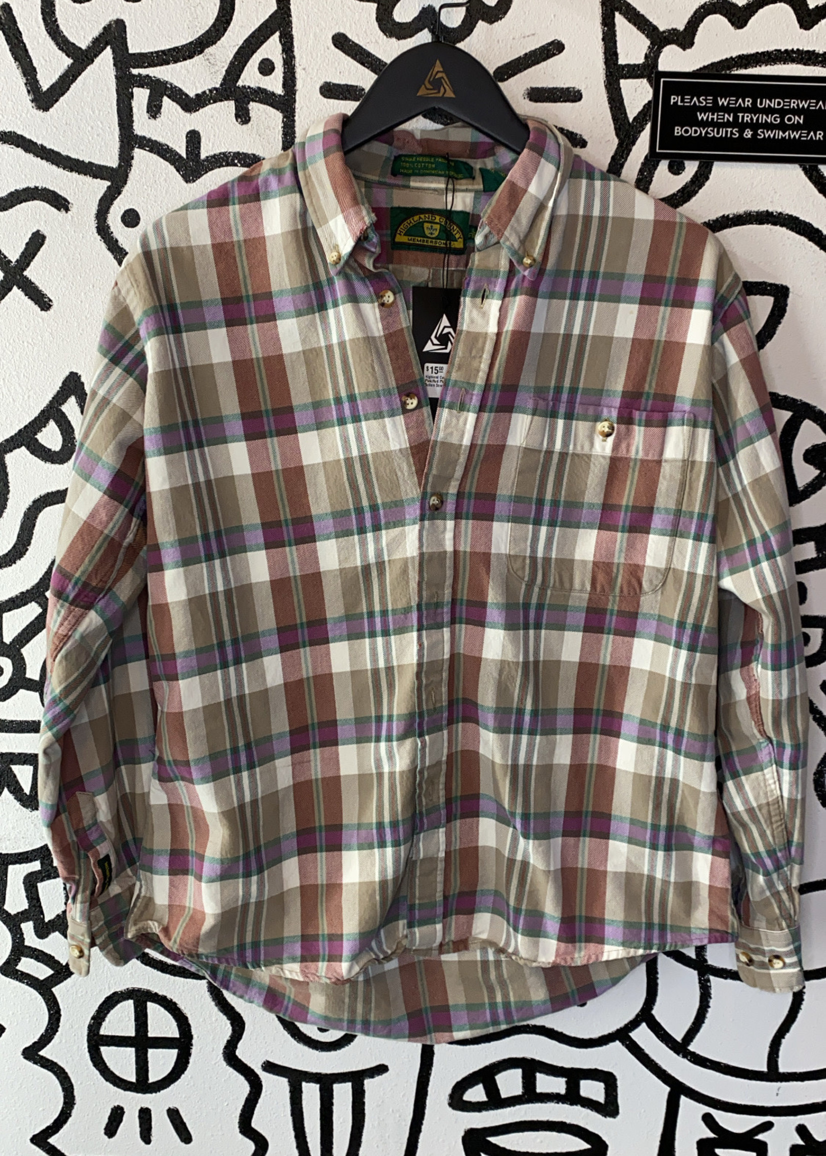Highland County Pink/Red Plaid Button Down L