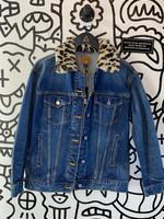 BDG Denim Jacket with Cheetah Print Collar S