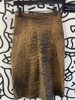 "Vintage no Label Brown Pleather Skirt 25"""