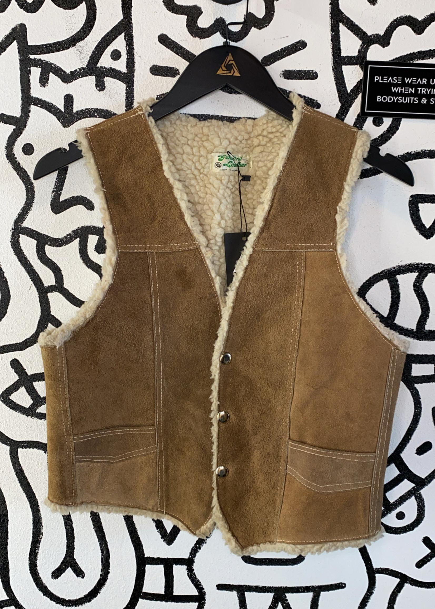 Vintage Genuine Leather Fleece Lined Vest M