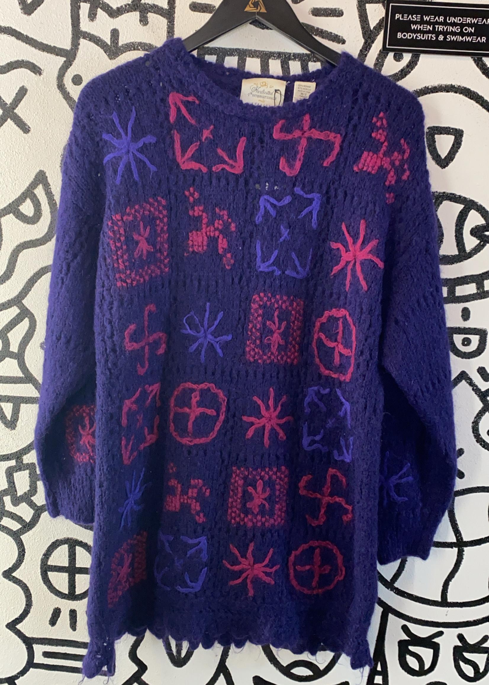 Handknitted Express Vintage Purple/Pink Design Sweater M