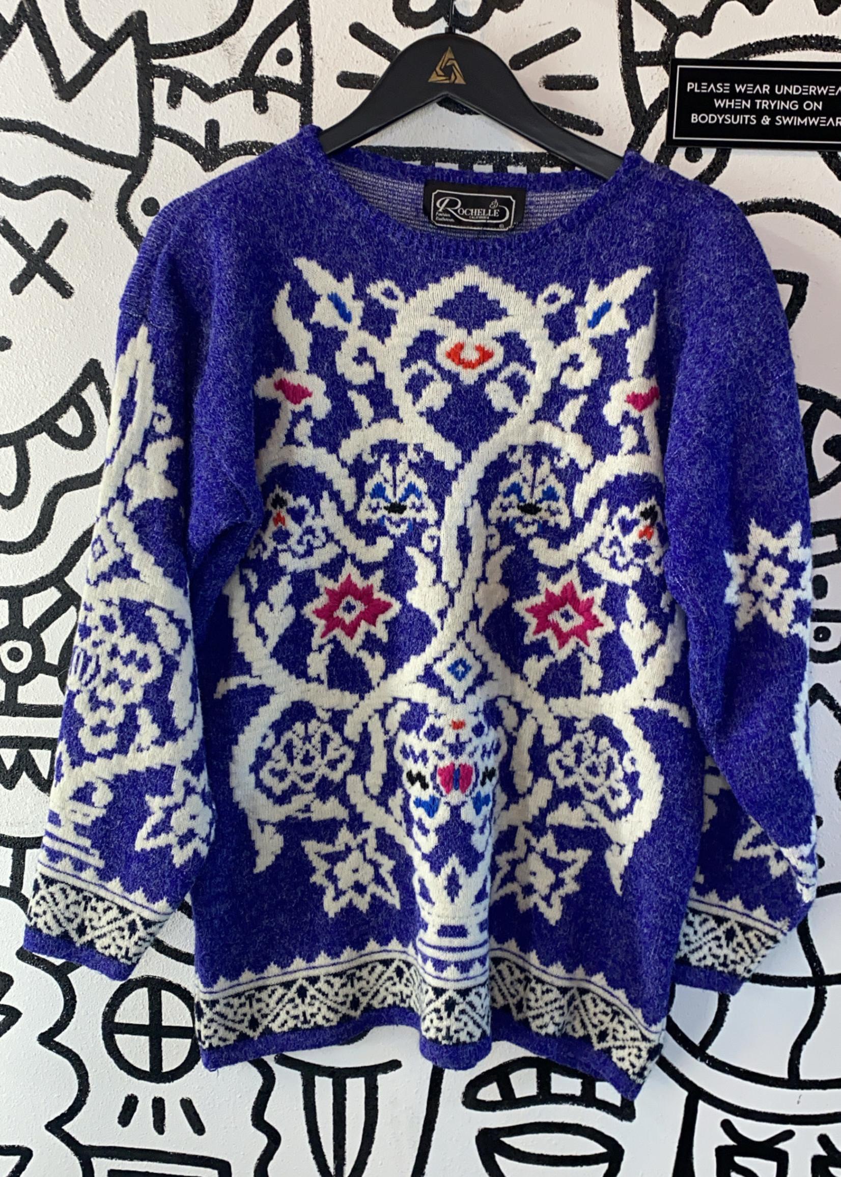 Rochelle California Purple Design Vintage Sweater M