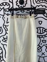 No lable white vintage skirt w/ belt S