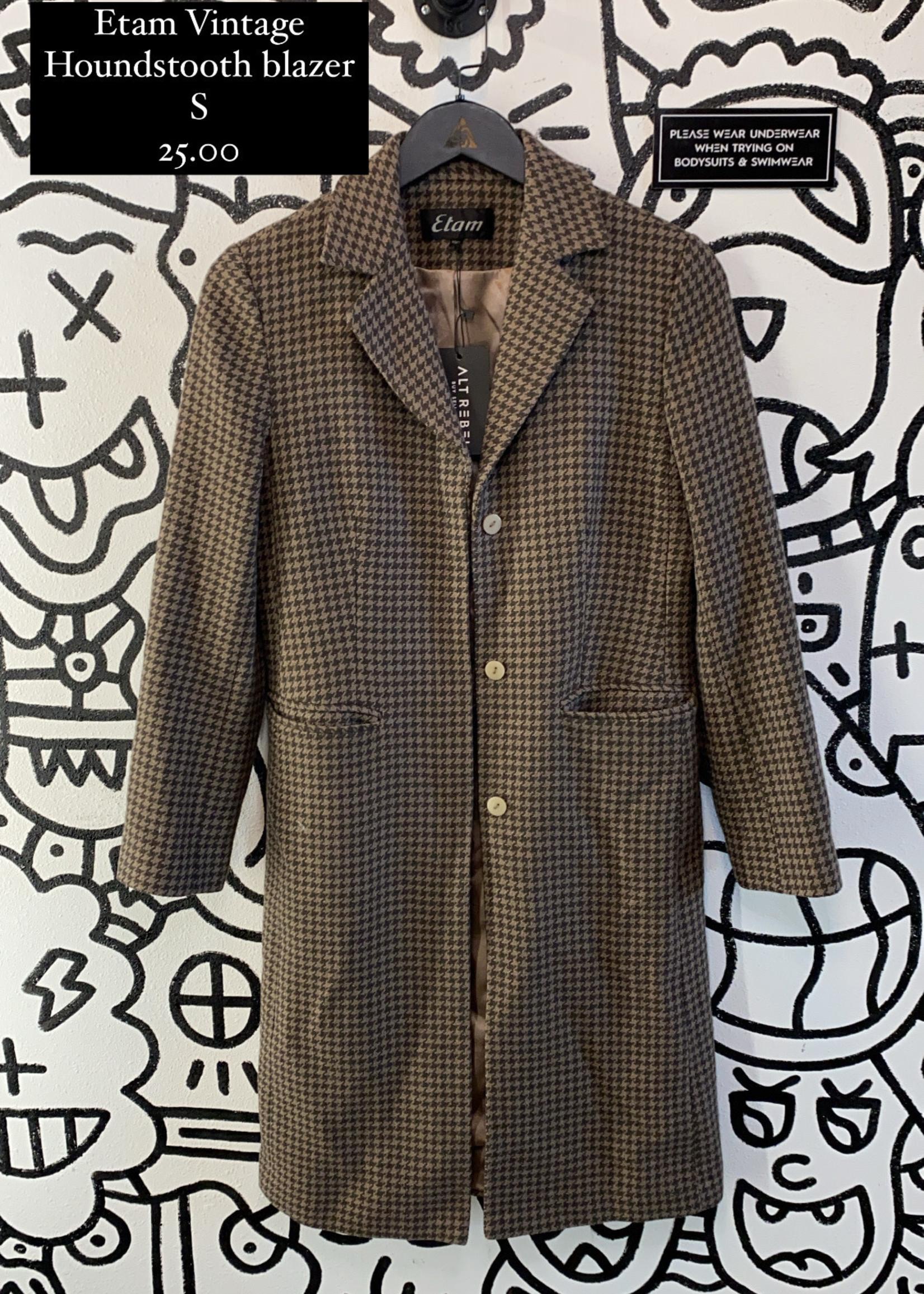 Etam Vintage Houndstooth Long Blazer S