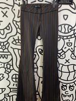 "Bershka Night Rainbow Pinstripe Black Flare Pants 28"""