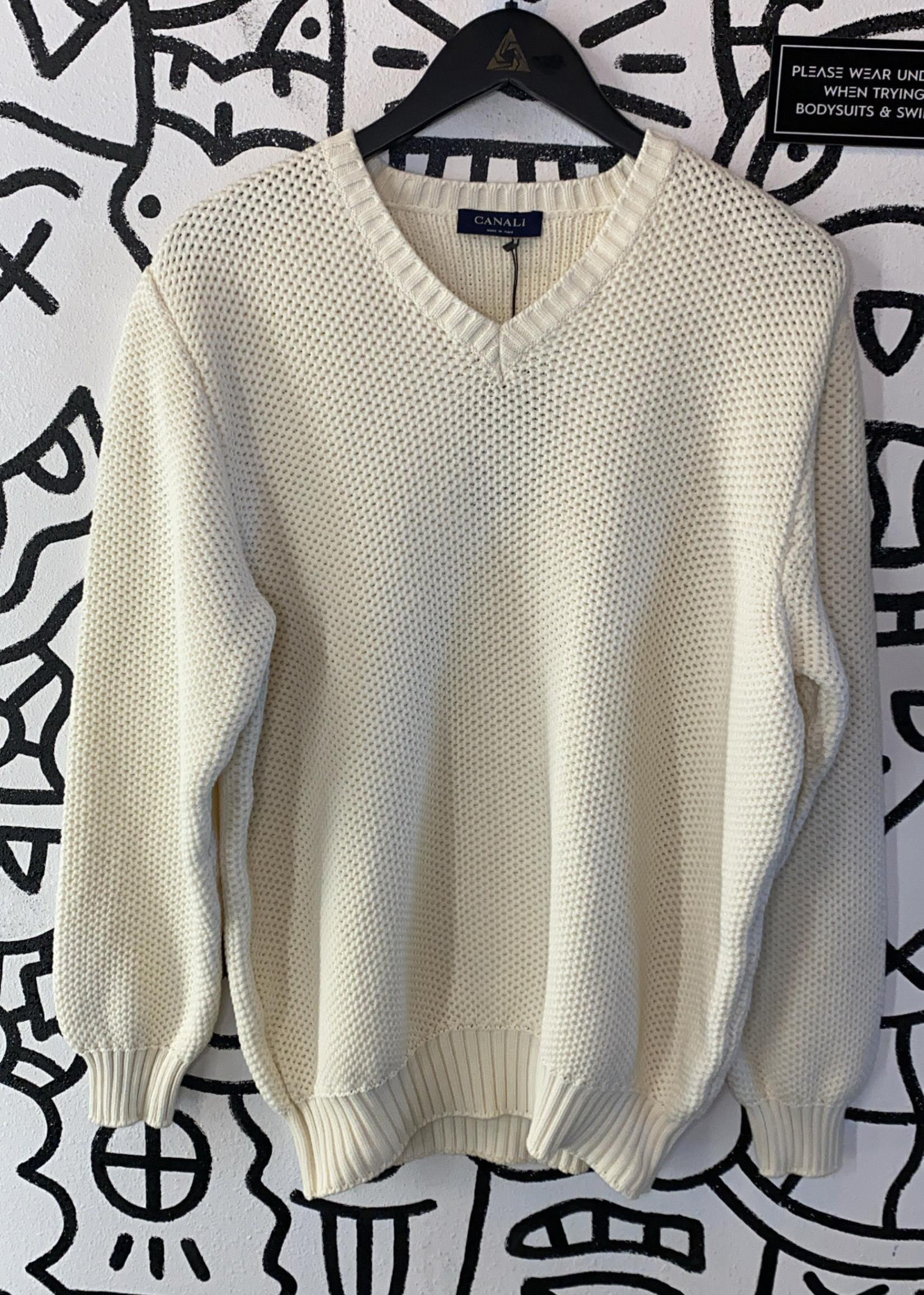Canali White Knit Sweater XL