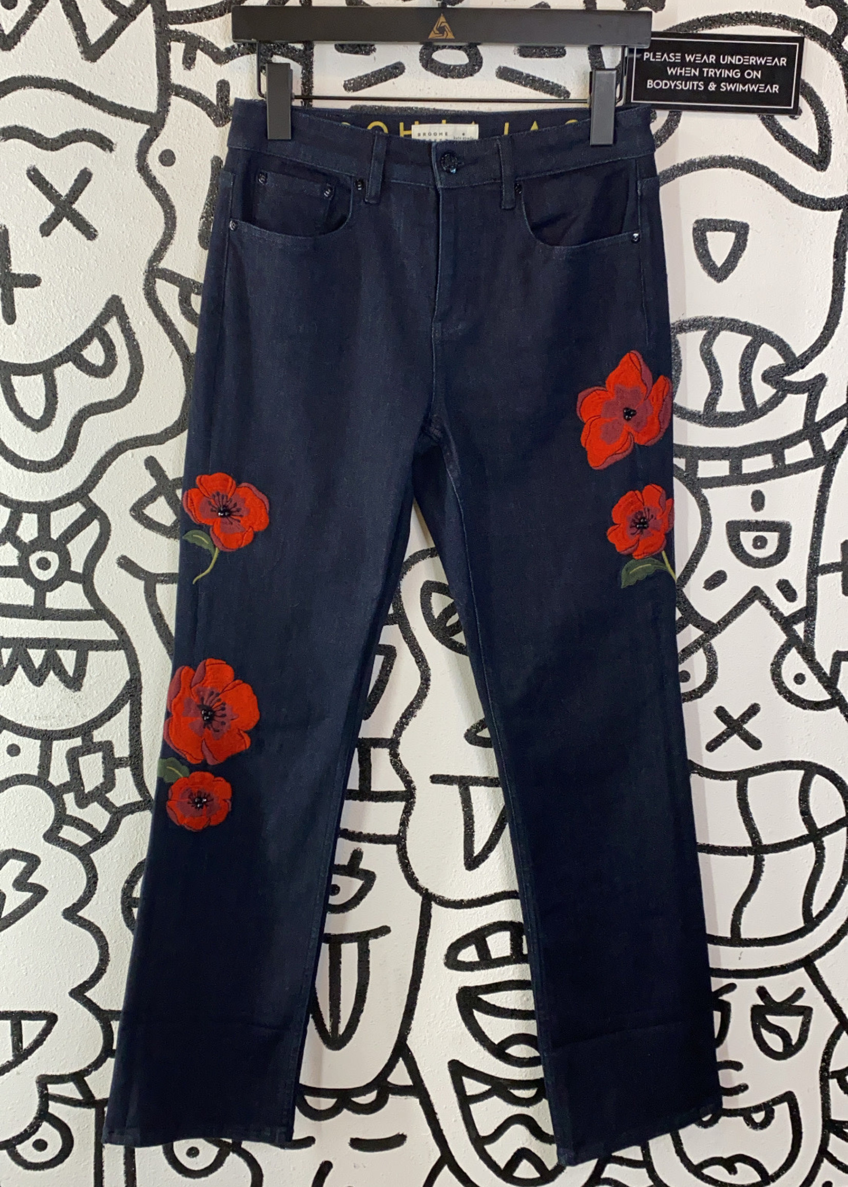 """Kate Spade Red Embroidered Flower Jeans 25"""""""