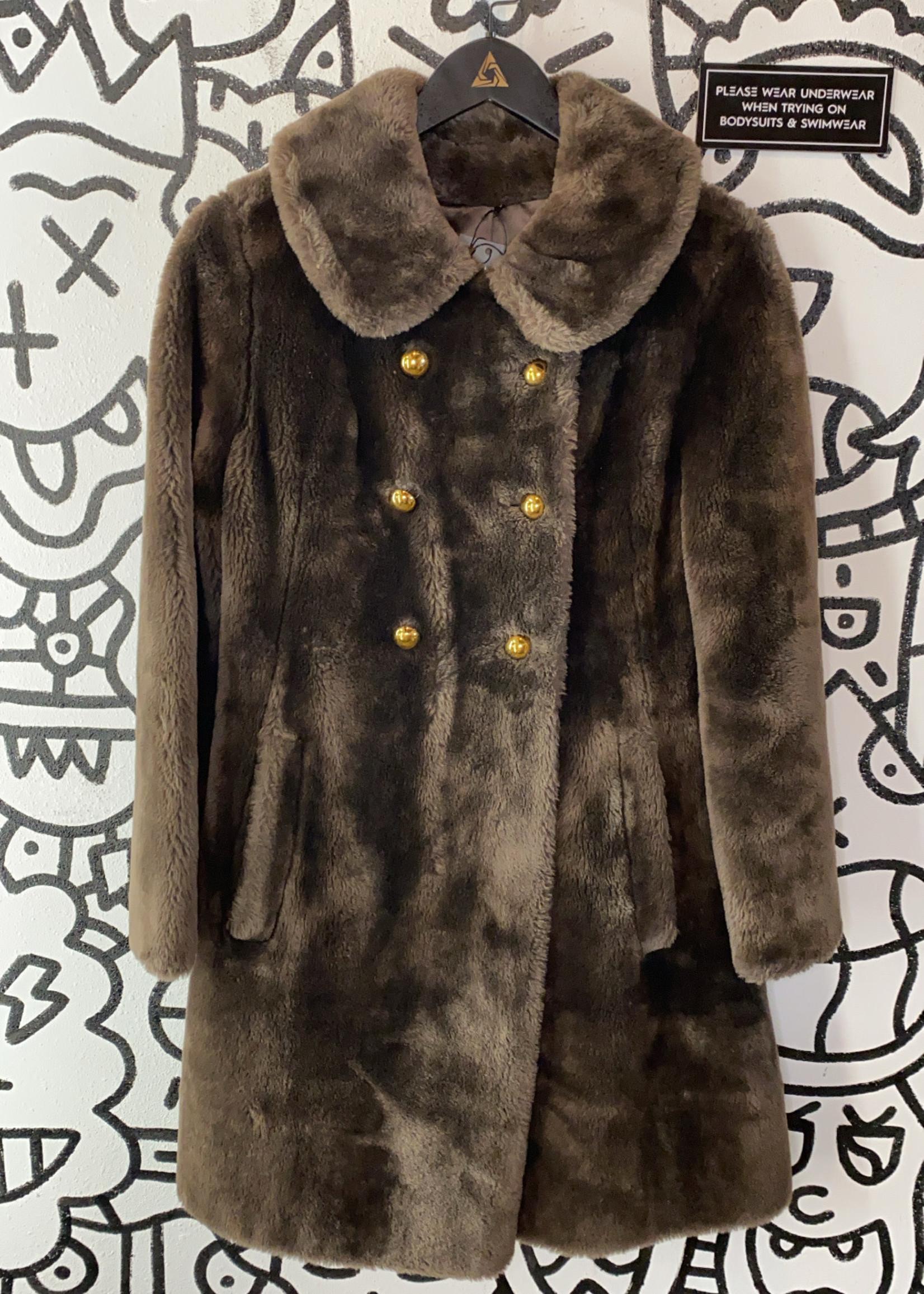 Vintage Brown Faux Fur Gold Button Coat M