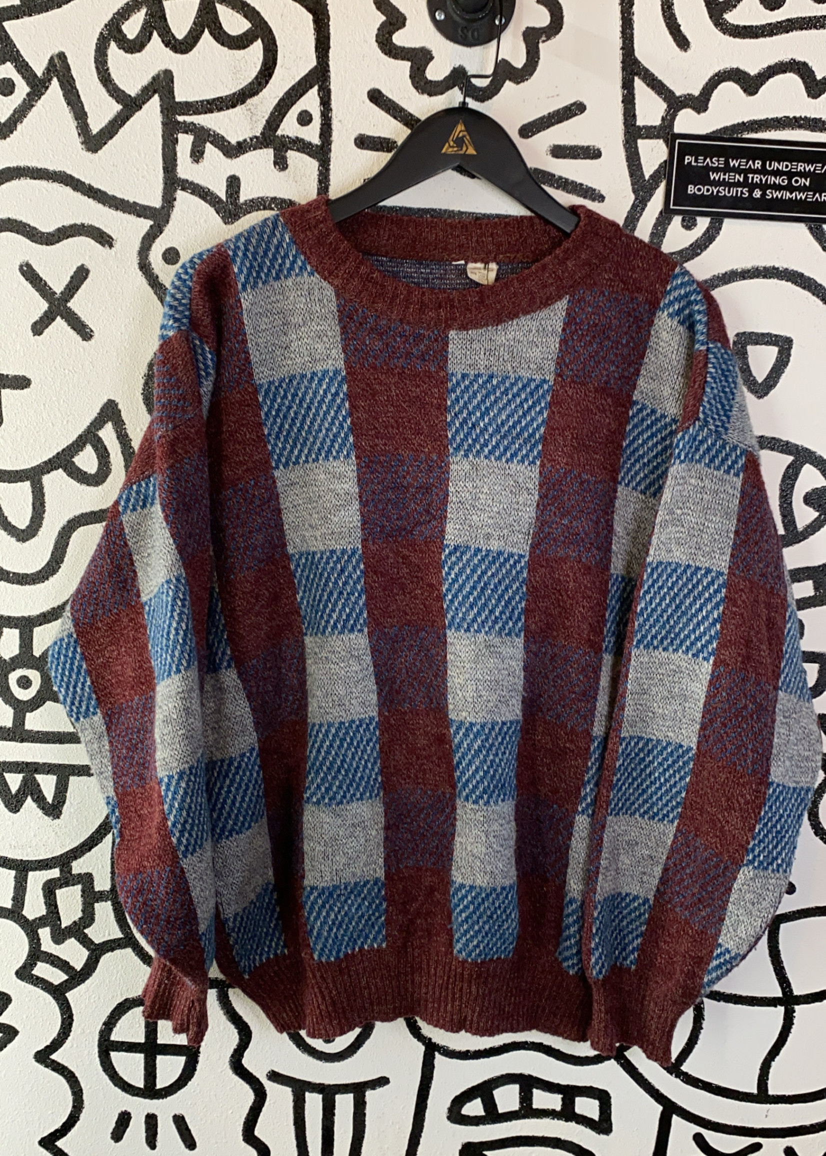 Vintage Maroon/Blue Checkered Sweater L