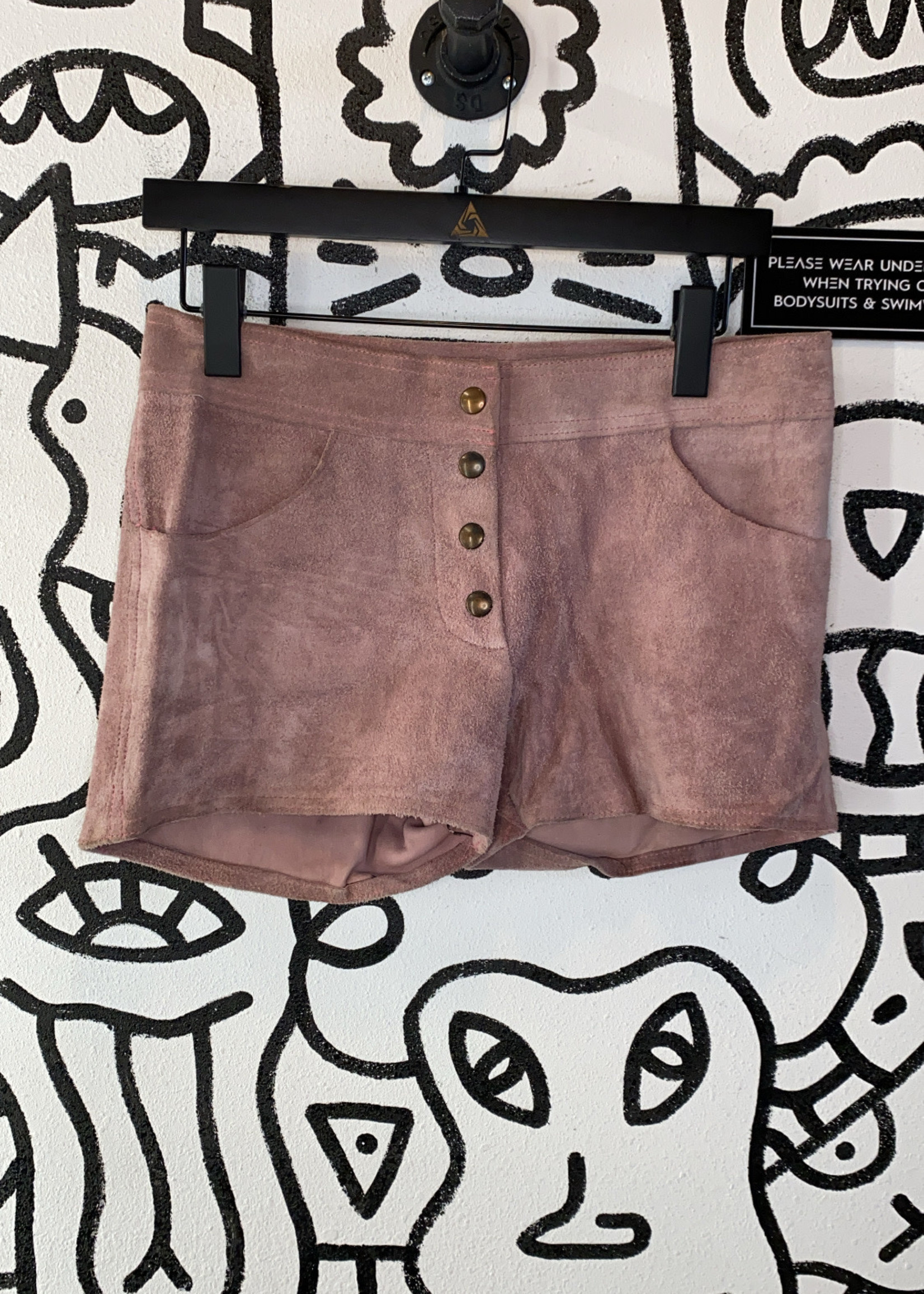"""Industries Rose Pink Leather Shorts 31"""""""