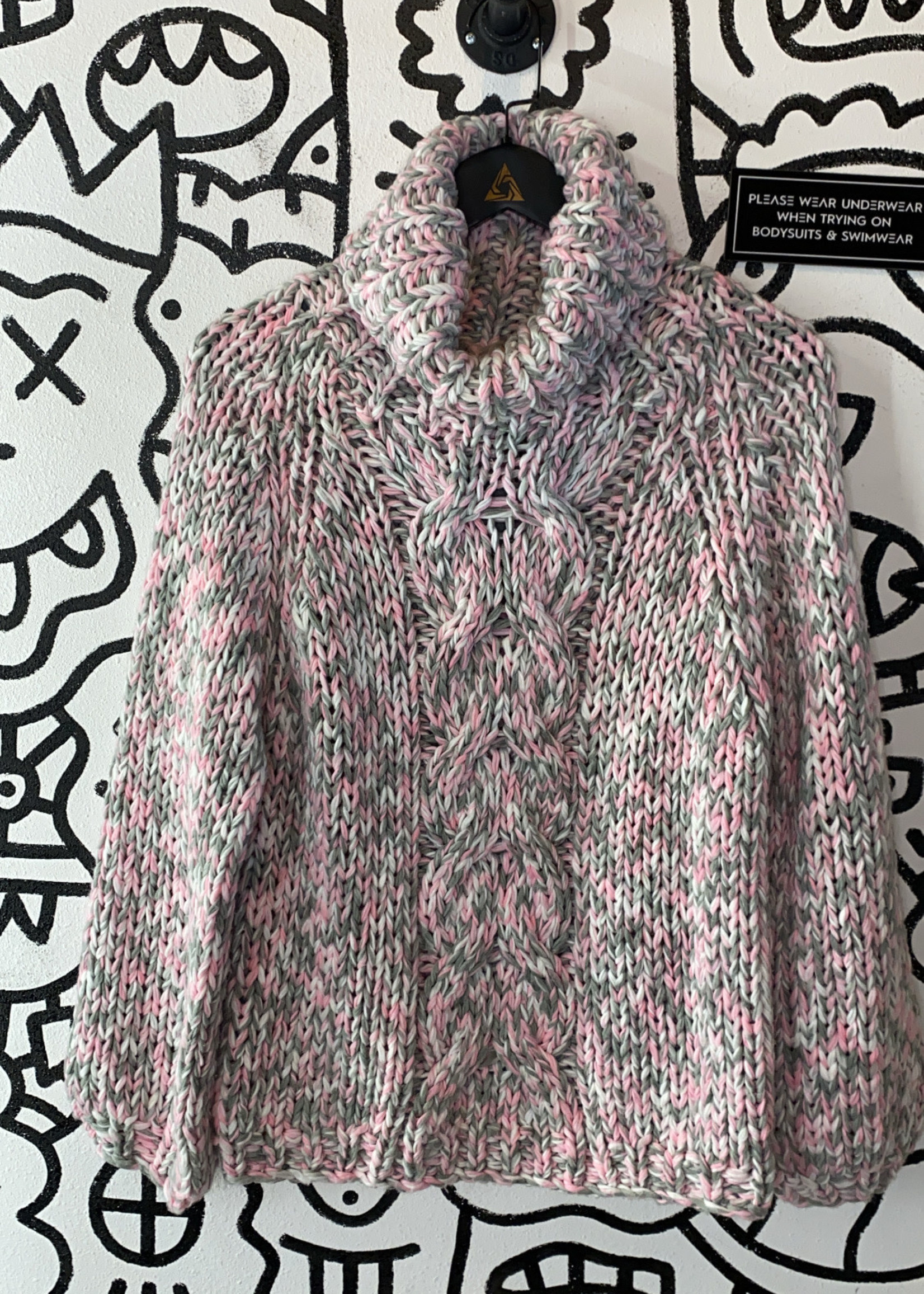Pol pink, grey and white knit turtle neck sweater S