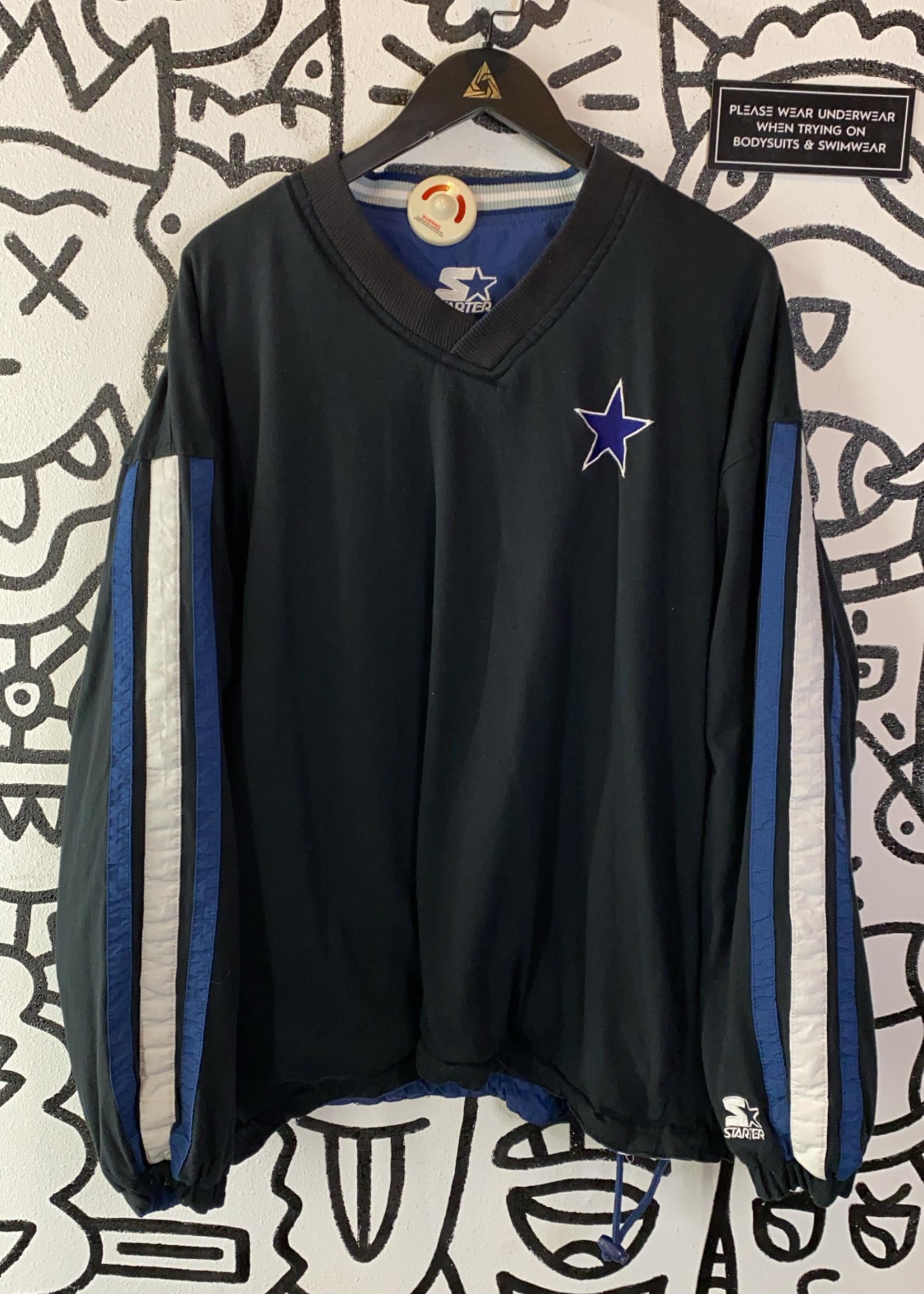 Vintage Starter Cowboys Black/Blue Pullover Reversible Sweater L