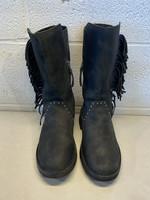 Ugg Black Fringe Leather Boots 7