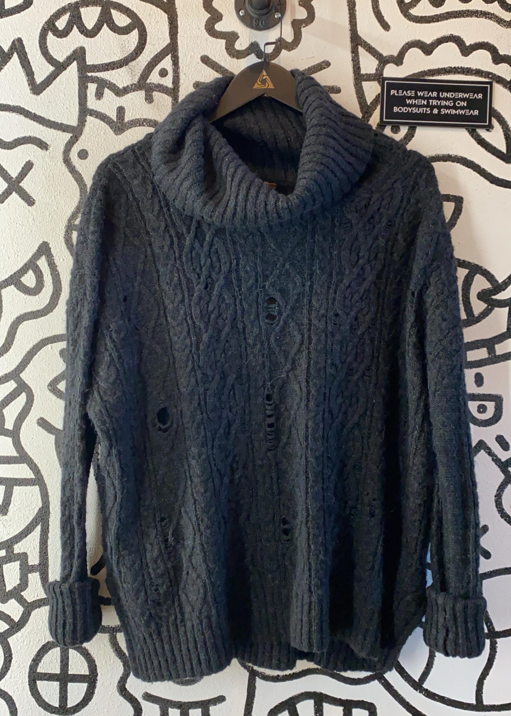 Free People Black/Grey Distressed Oversize Turtleneck Sweater M