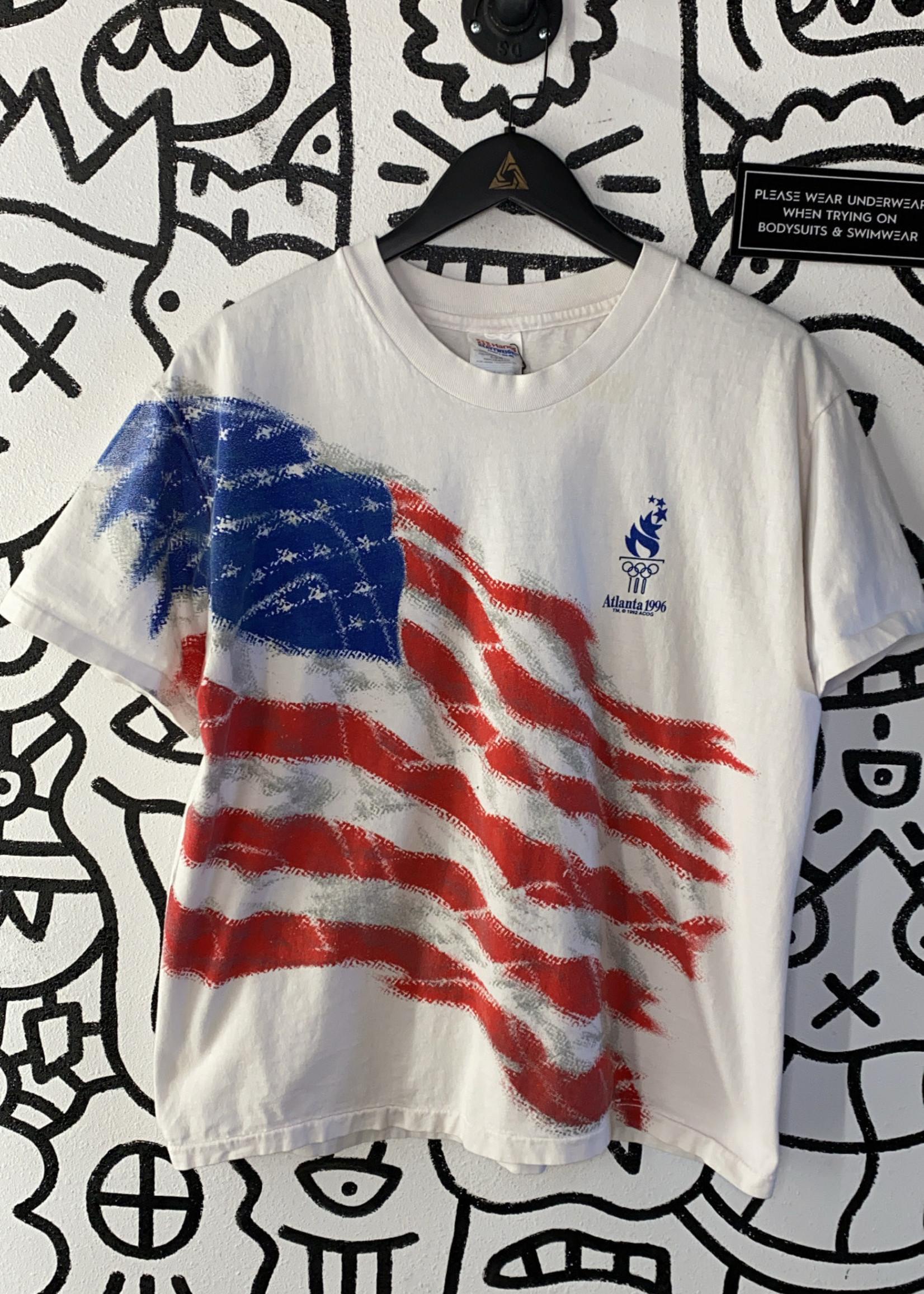 Atlanta 1996 Vintage American Flag Tee L
