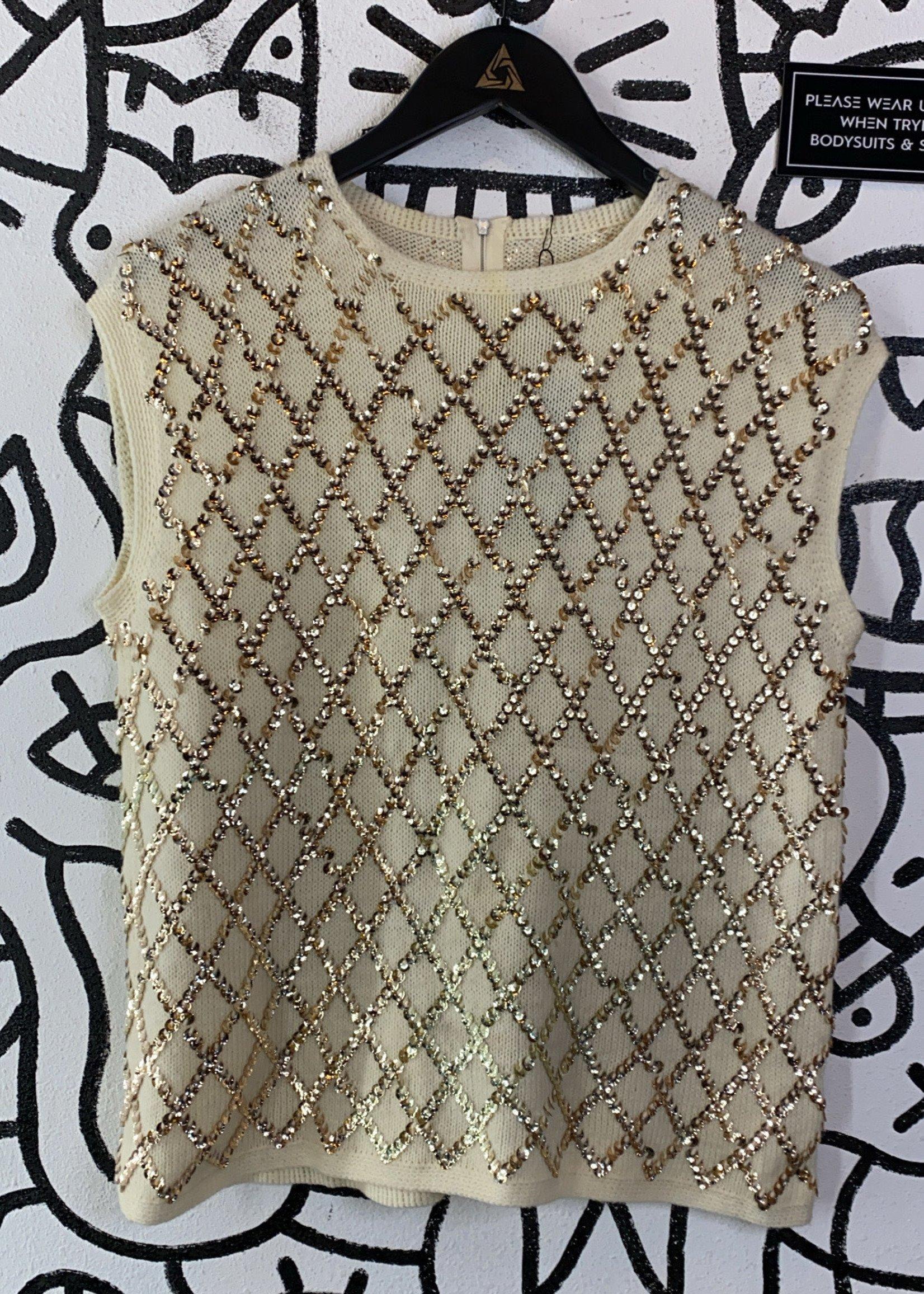 Vintage No Label Off White Embellished Sweater Tank L