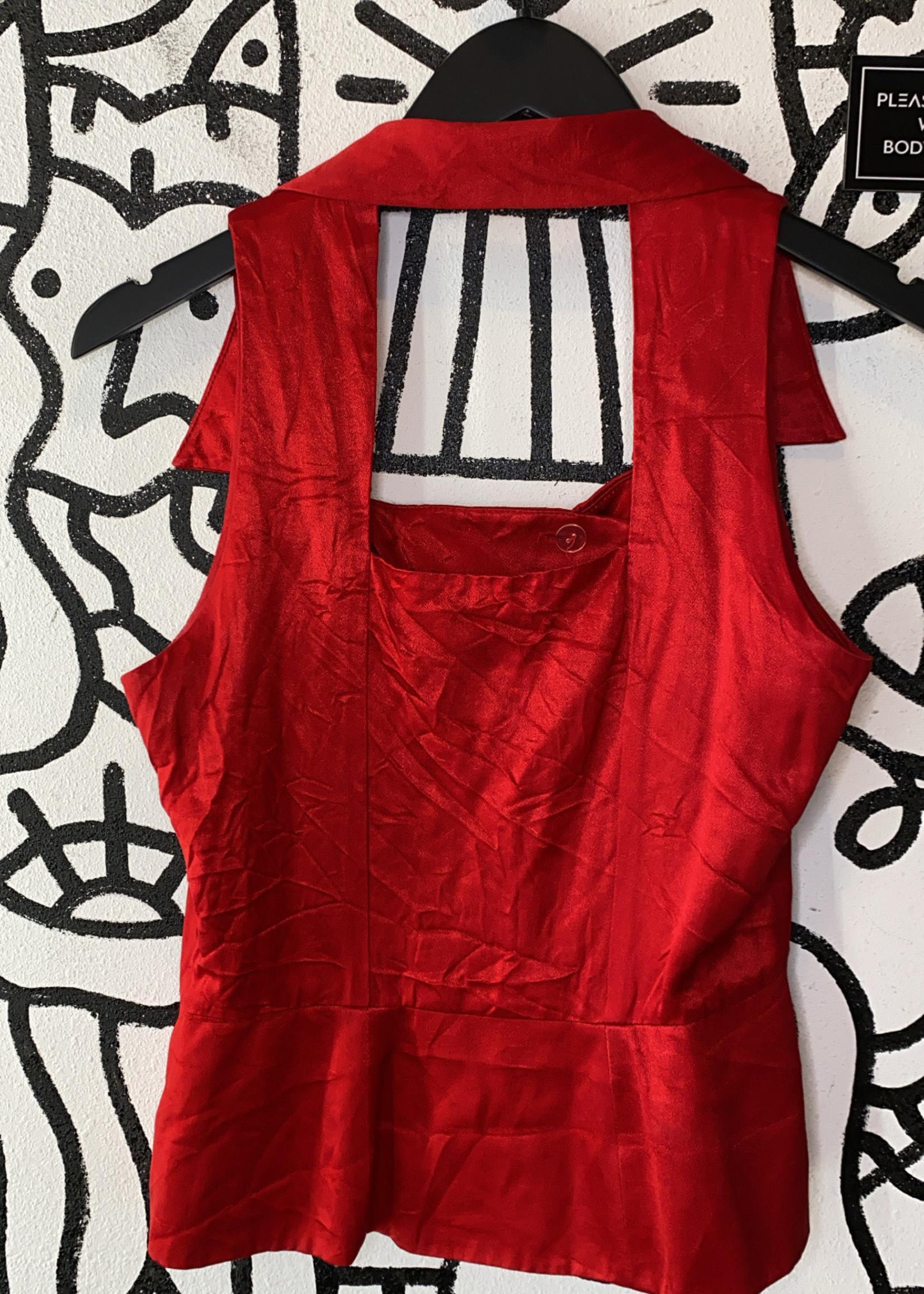 Scarlett Vintage Red Silky Halter Tank S