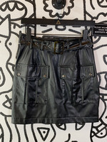 Faux Motel Leather Skirt with Belt 28