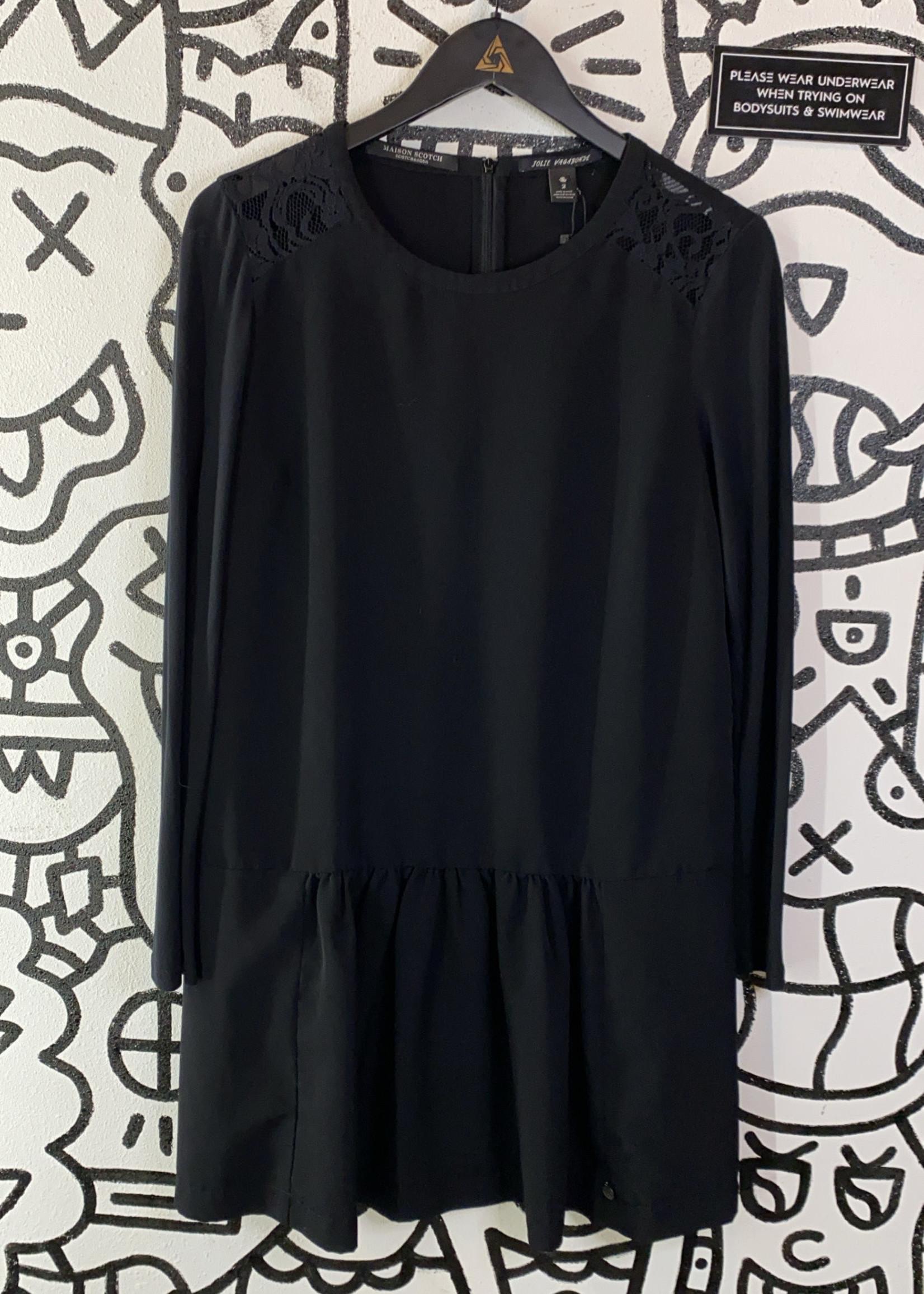 Scotch and Soda Black Long Sleeve Lace Shoulder Dress 2