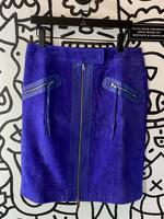 """Vintage Purple Leather Zip Skirt 34"""""""