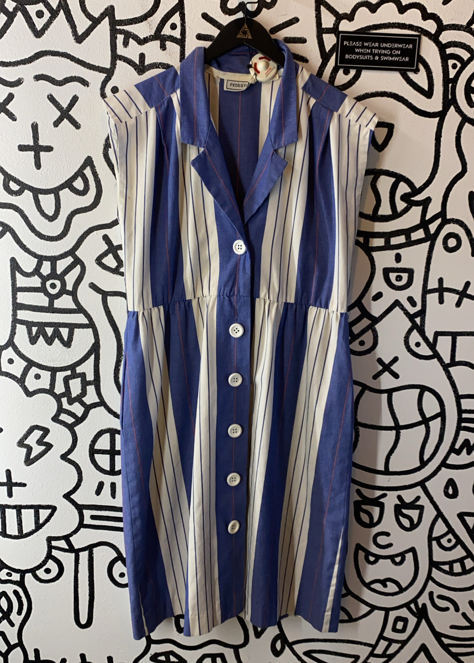 Pedestal vintage blue and white stripped dress with buttons  L